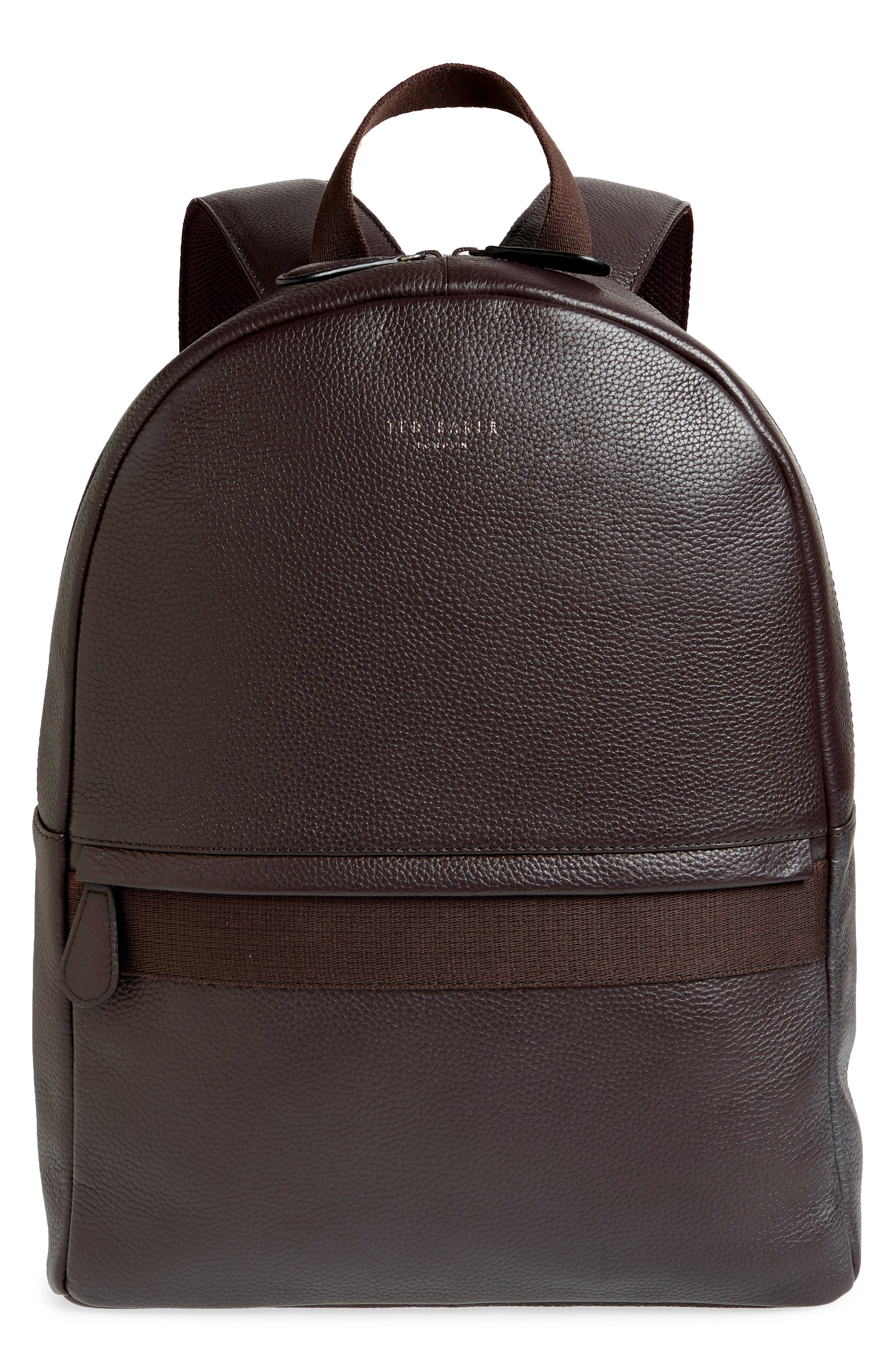 Leather Backpack,                         Main,                         color, CHOCOLATE