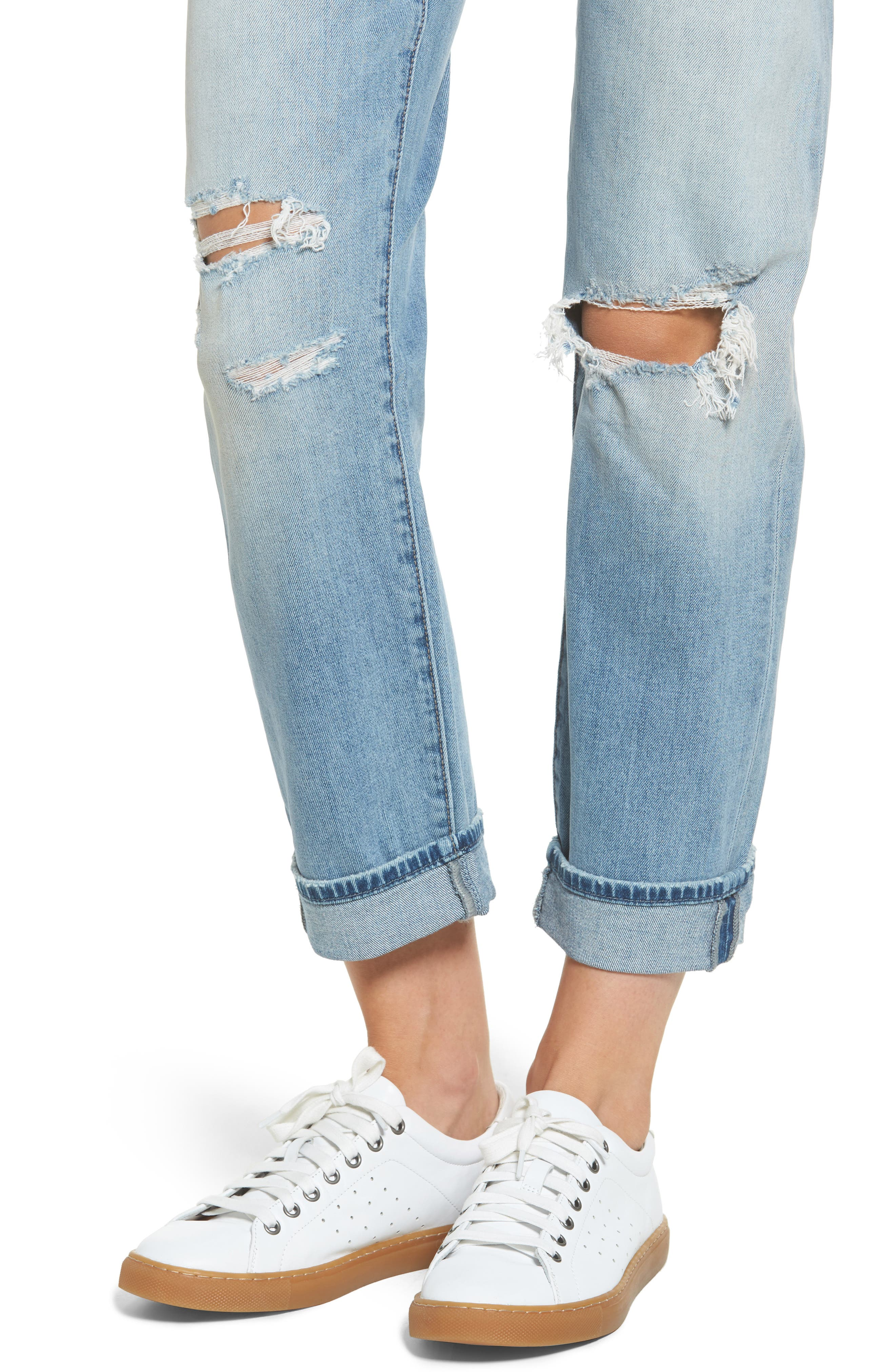 Ripped Relaxed Fit Jeans,                             Alternate thumbnail 4, color,                             400