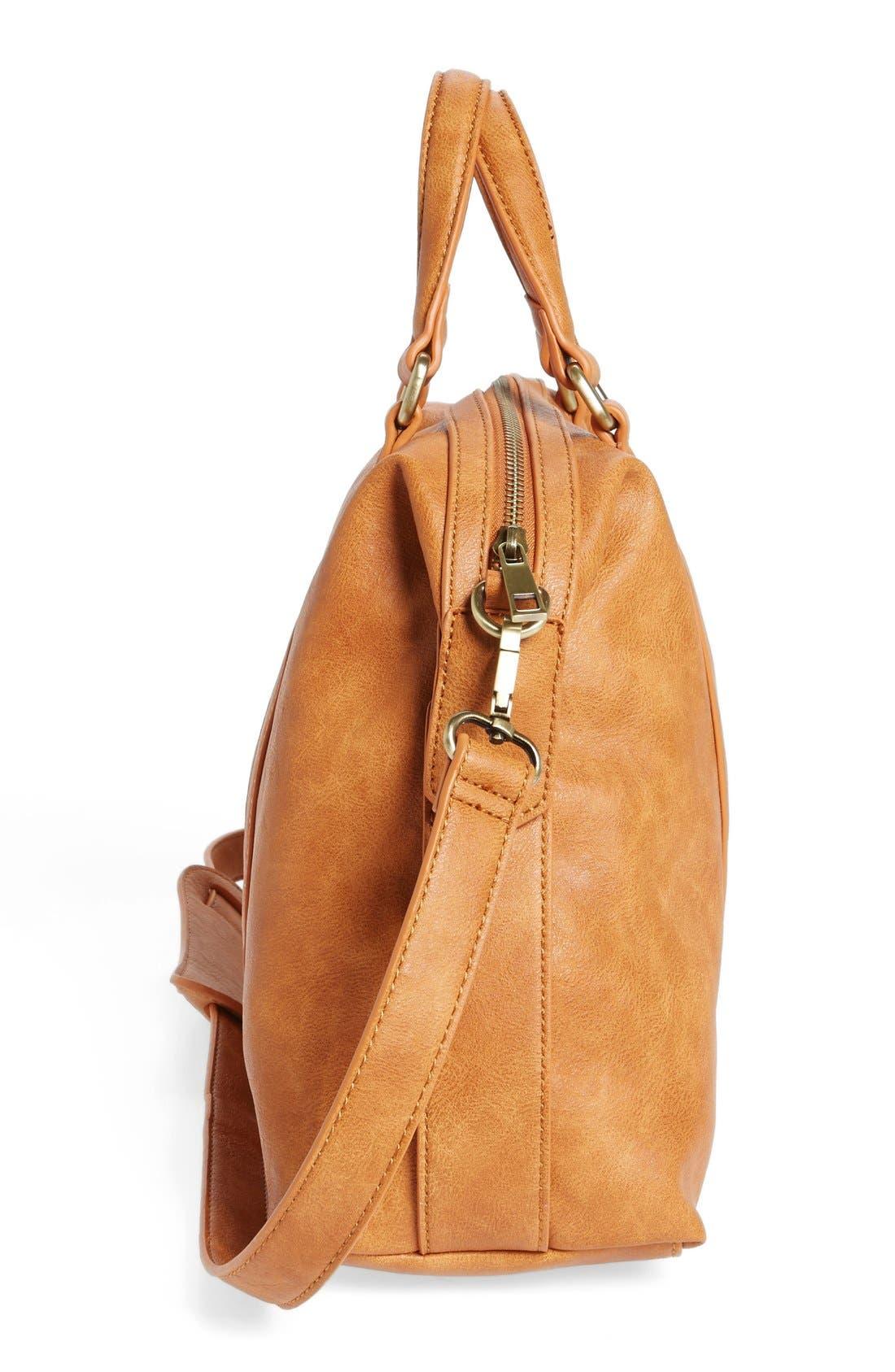 'Oliva' Faux Leather Satchel,                             Alternate thumbnail 4, color,