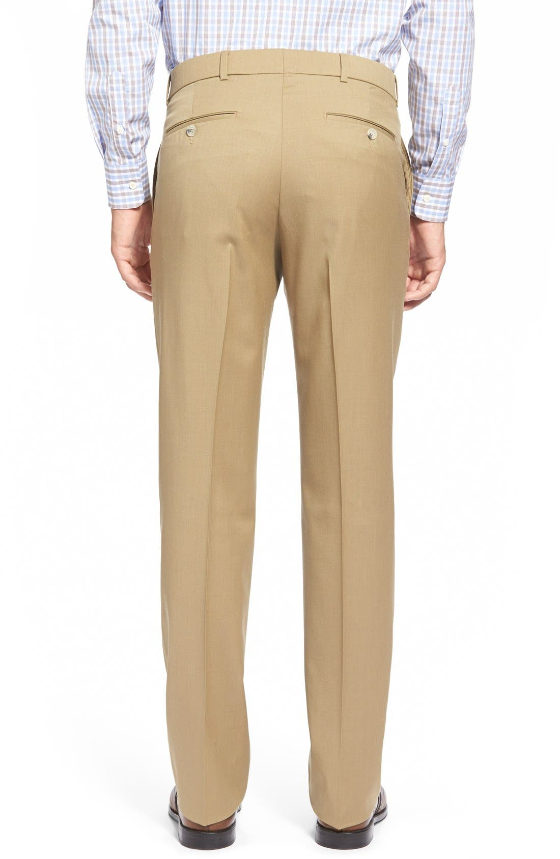 Flat Front Solid Wool Trousers,                             Alternate thumbnail 30, color,