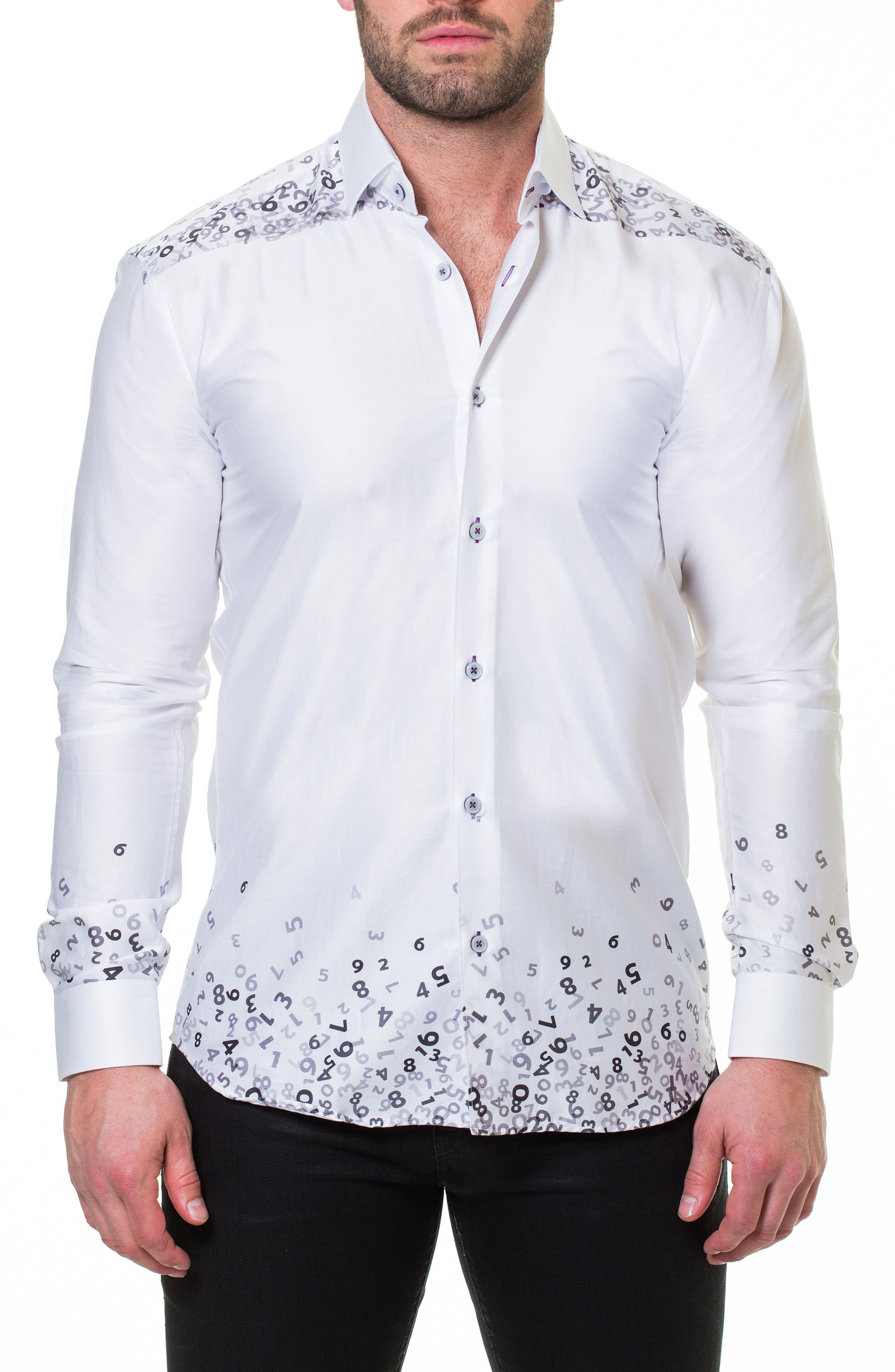 Luxor Counting White Slim Fit Sport Shirt,                             Alternate thumbnail 4, color,