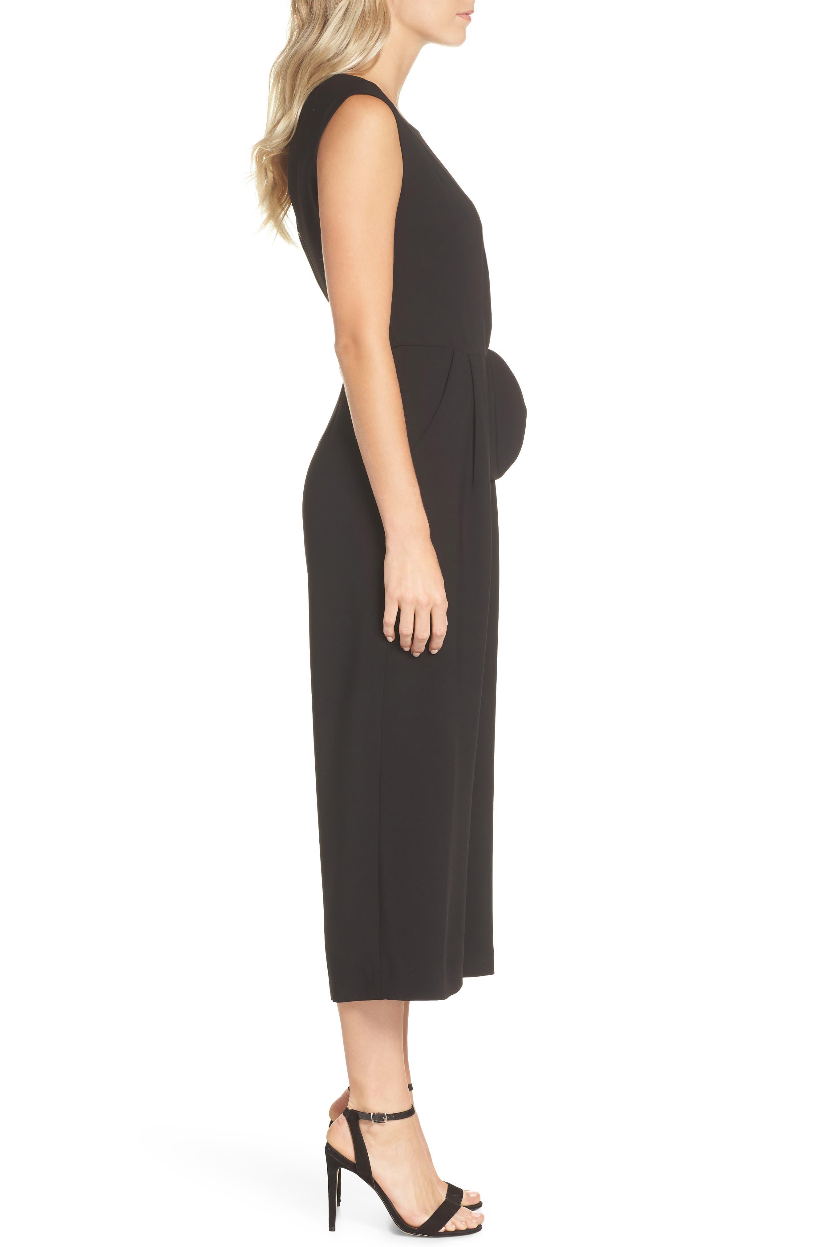 Sleeveless Crepe Crop Jumpsuit,                             Alternate thumbnail 3, color,                             BLACK