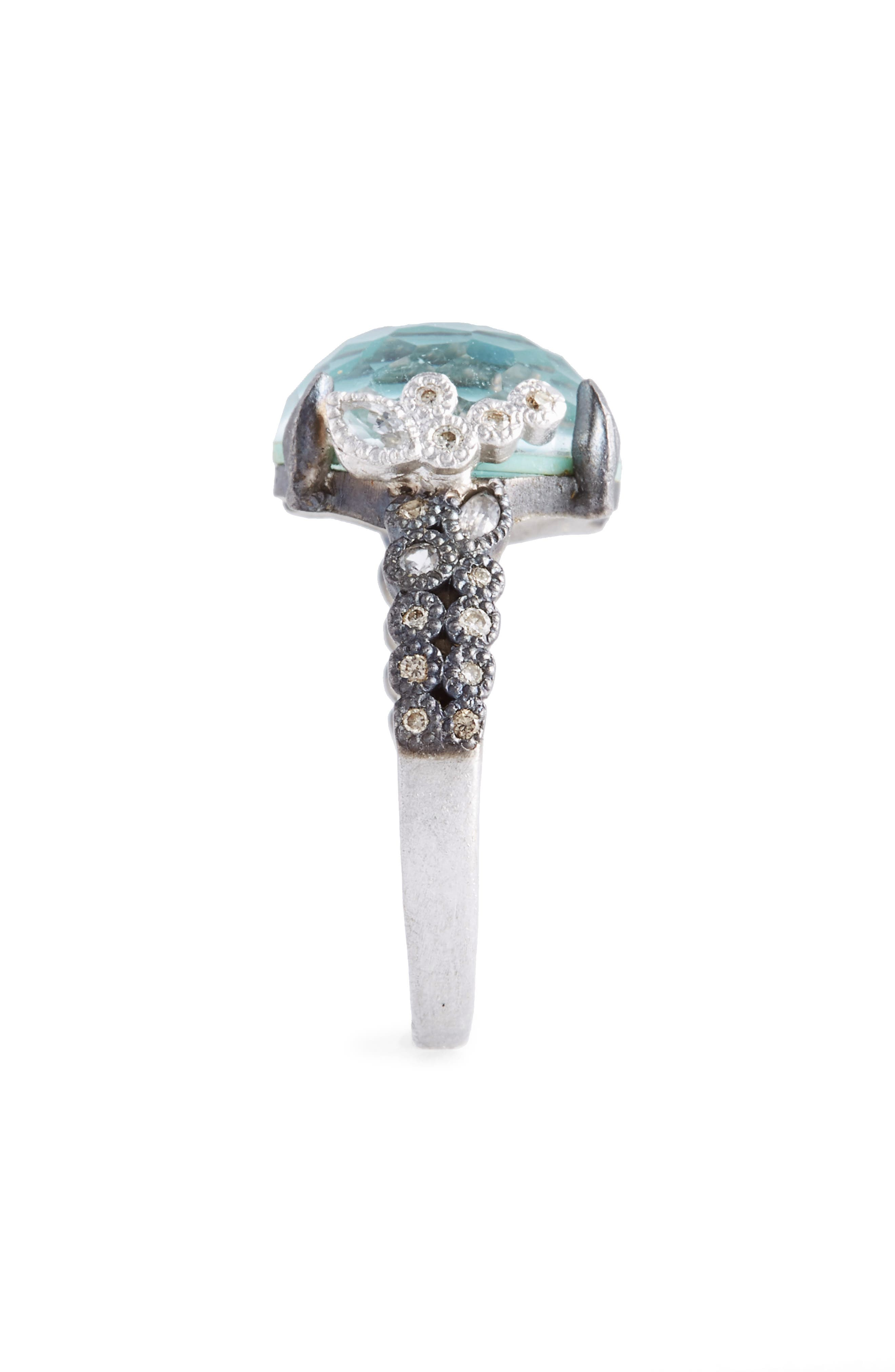 New World Crivelli Turquoise & Diamond Ring,                             Alternate thumbnail 2, color,                             SILVER/ TURQUOISE