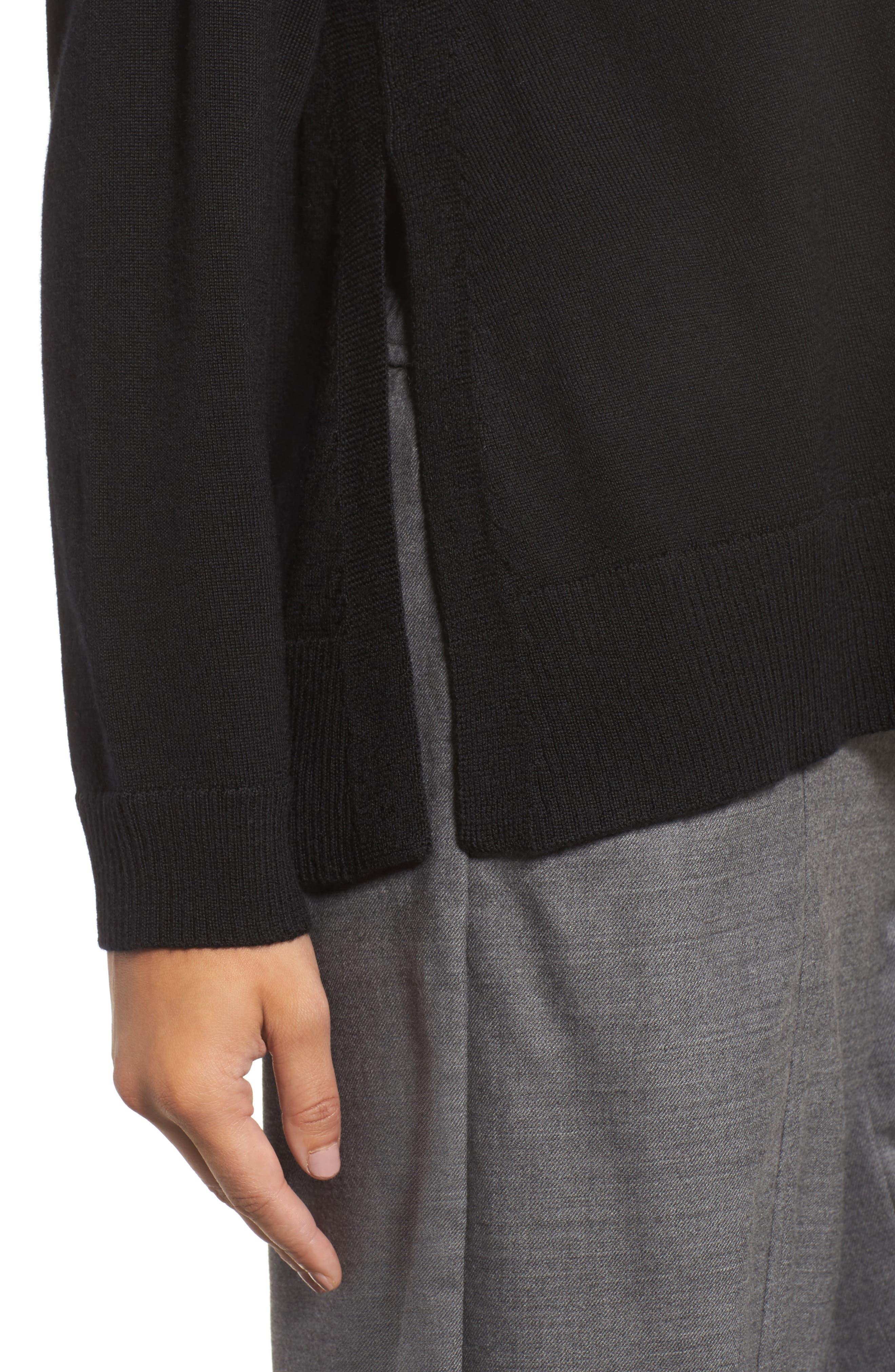 Side Slit Merino Wool Sweater,                             Alternate thumbnail 4, color,                             001