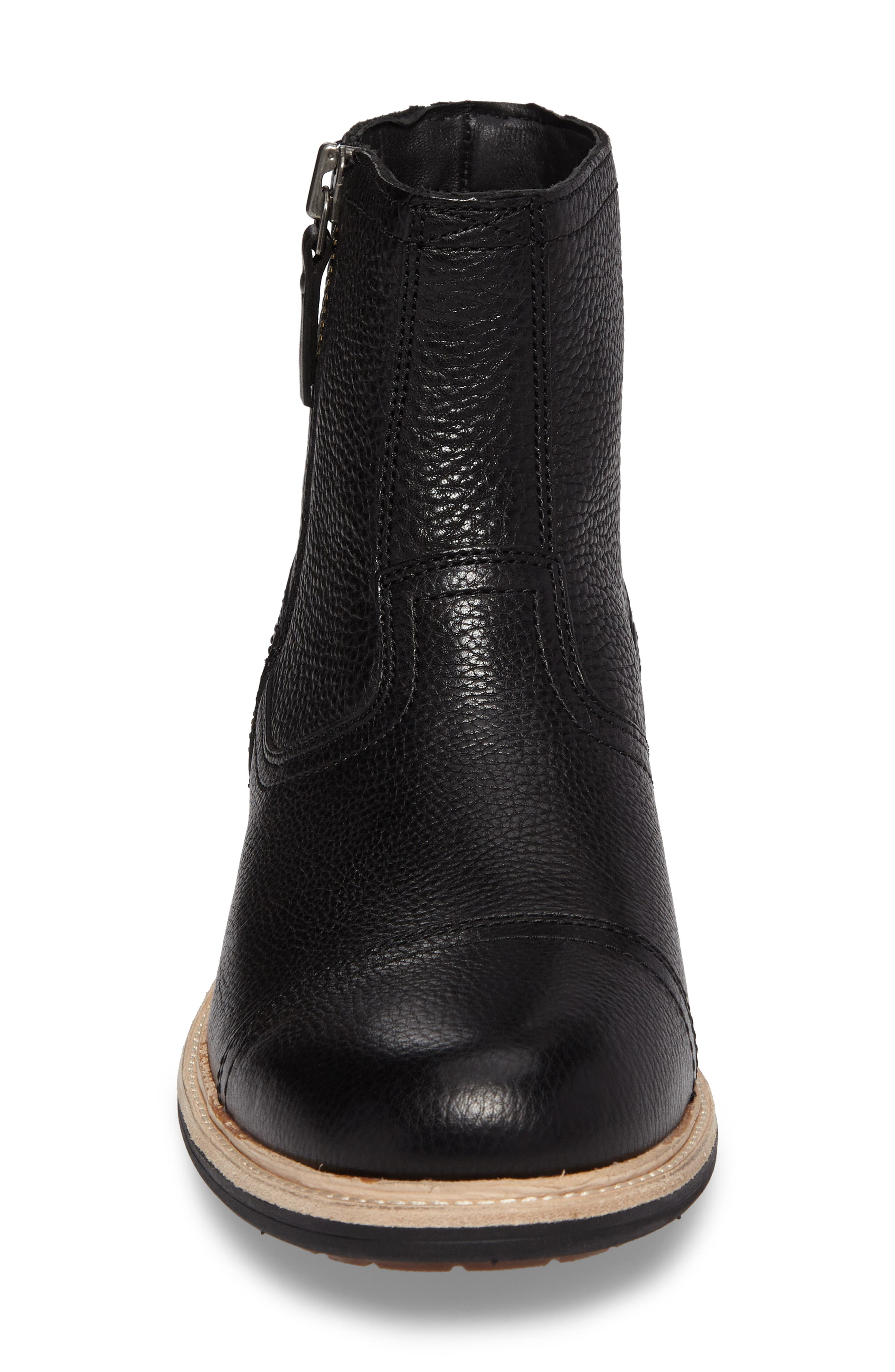 Dalvin Zip Boot with Genuine Shearling,                             Alternate thumbnail 4, color,                             BLACK
