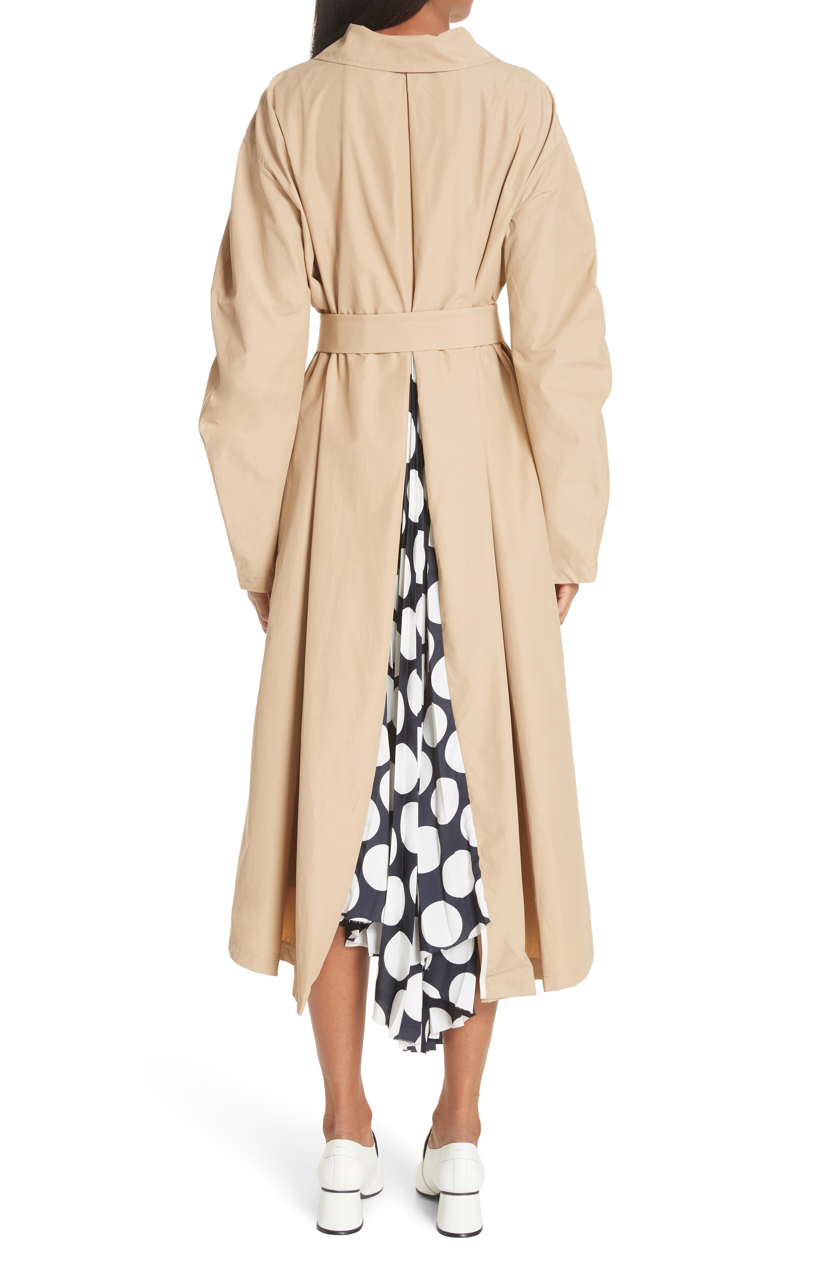 Round Sleeve Coat with Polka Dot Back Panel,                             Alternate thumbnail 2, color,