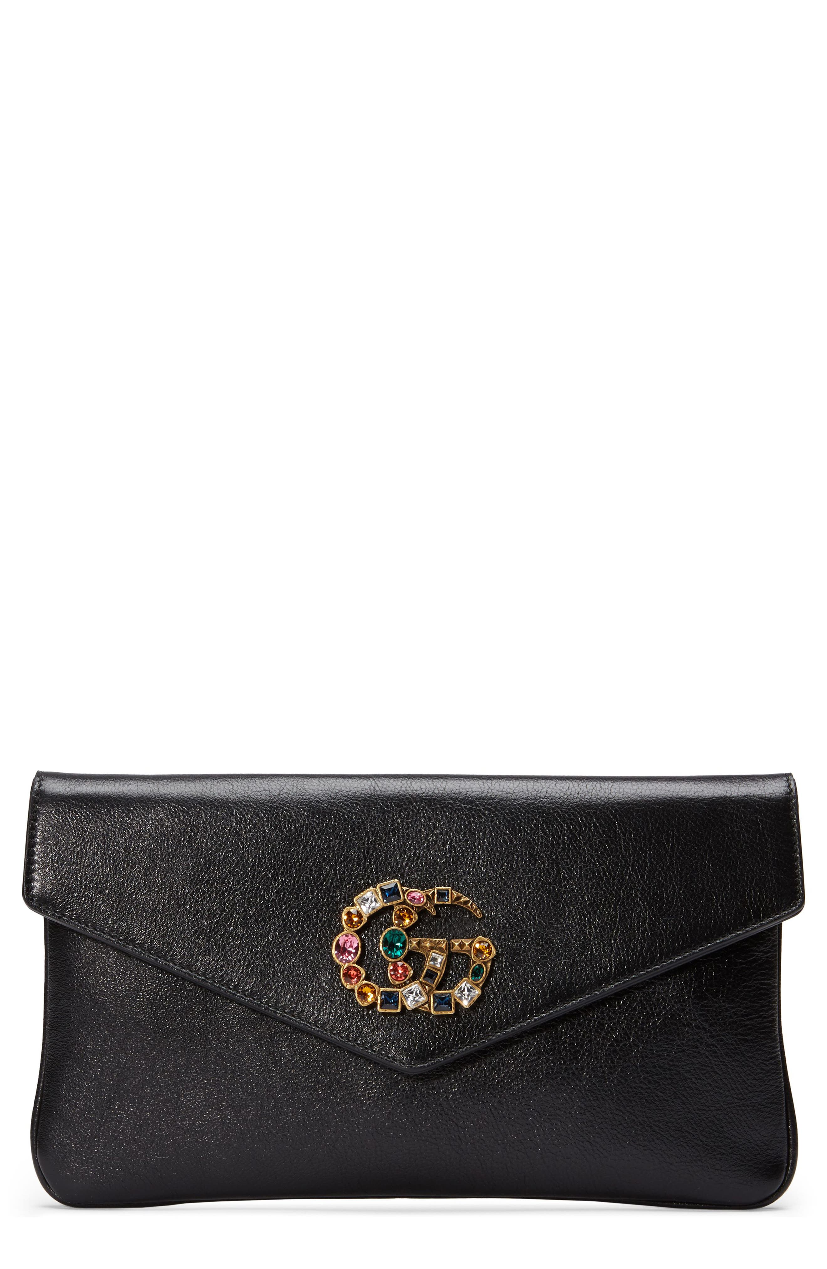 Broadway Crystal GG Leather Envelope Clutch,                         Main,                         color, 001