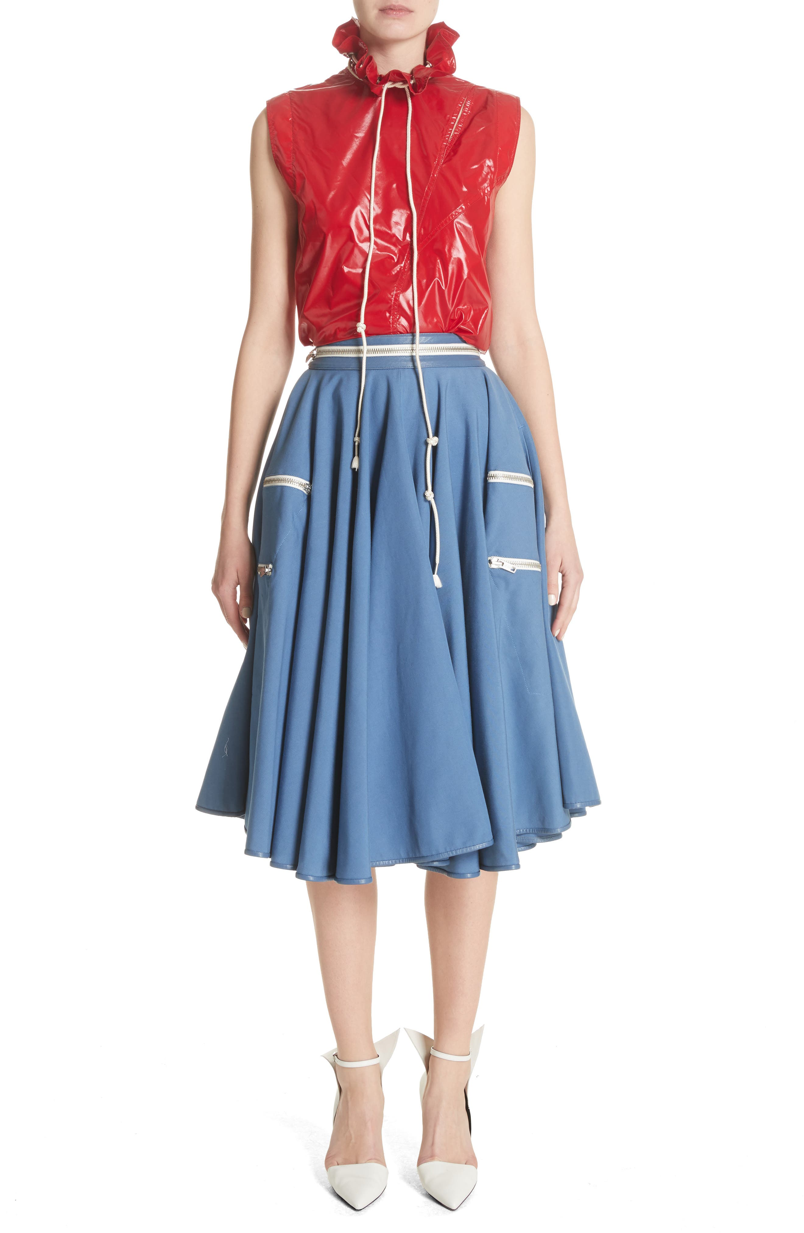 Zip Detail Circle Skirt,                             Alternate thumbnail 6, color,                             422