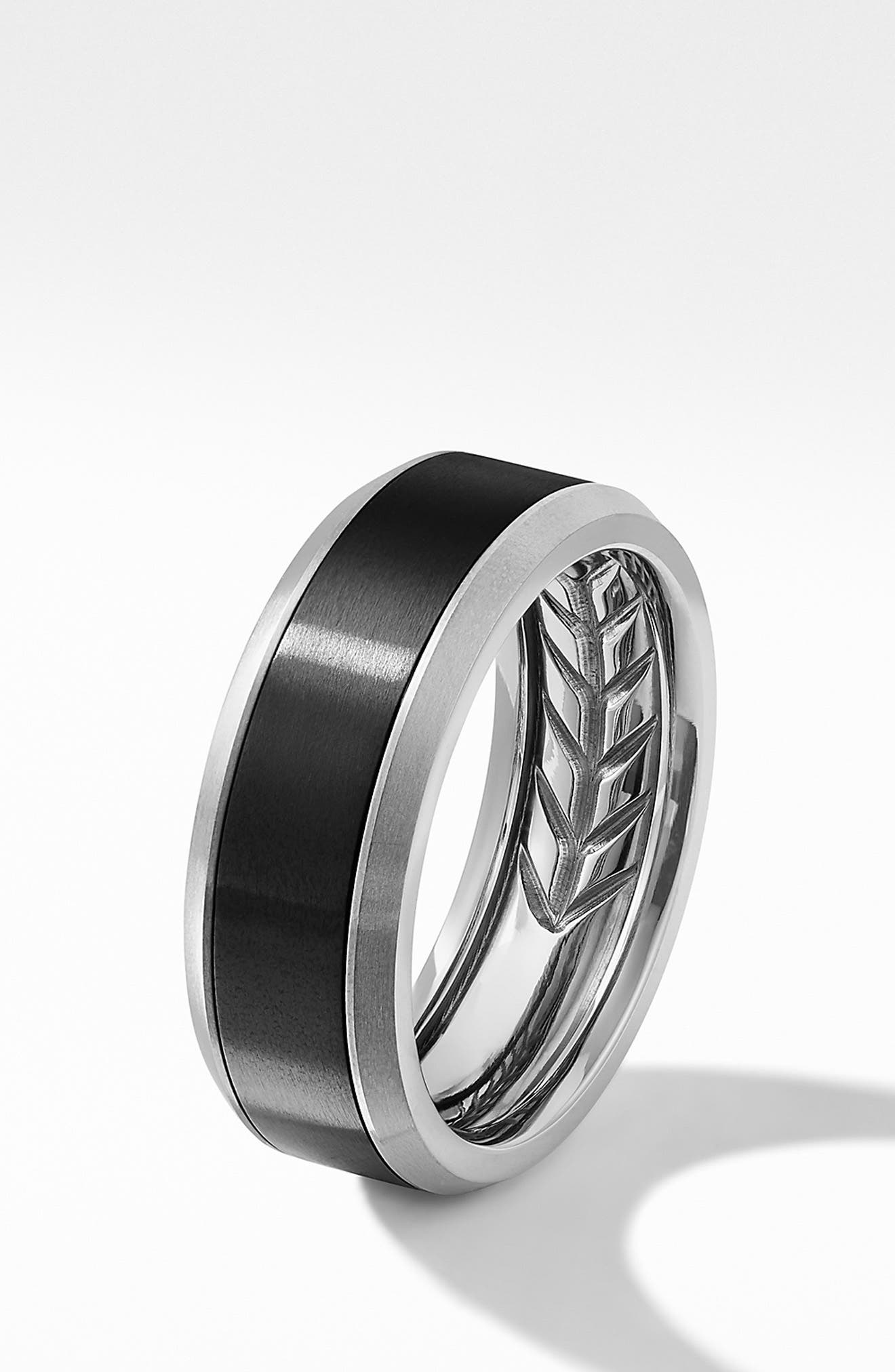Beveled Titanium Band Ring,                             Alternate thumbnail 3, color,                             GREY TITANIUM/ BLACK TITANIUM