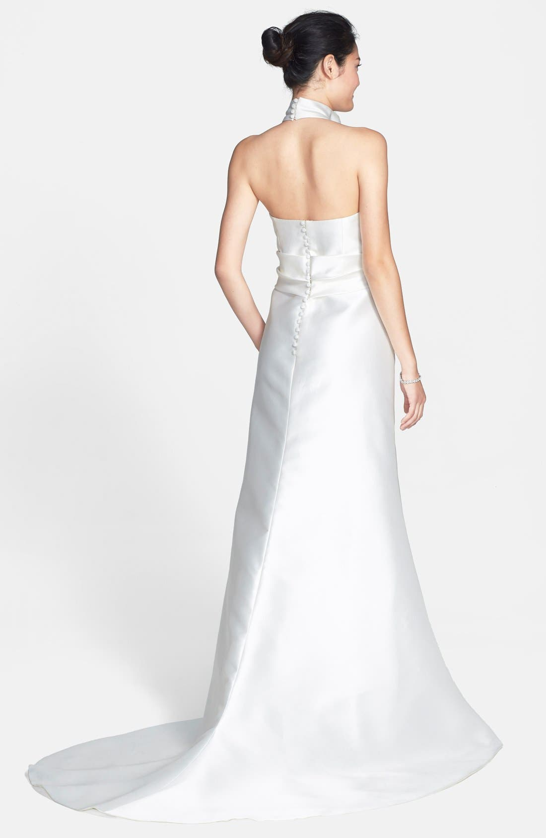 Mikado Satin Halter Fluted Dress,                             Alternate thumbnail 5, color,                             OFF WHITE