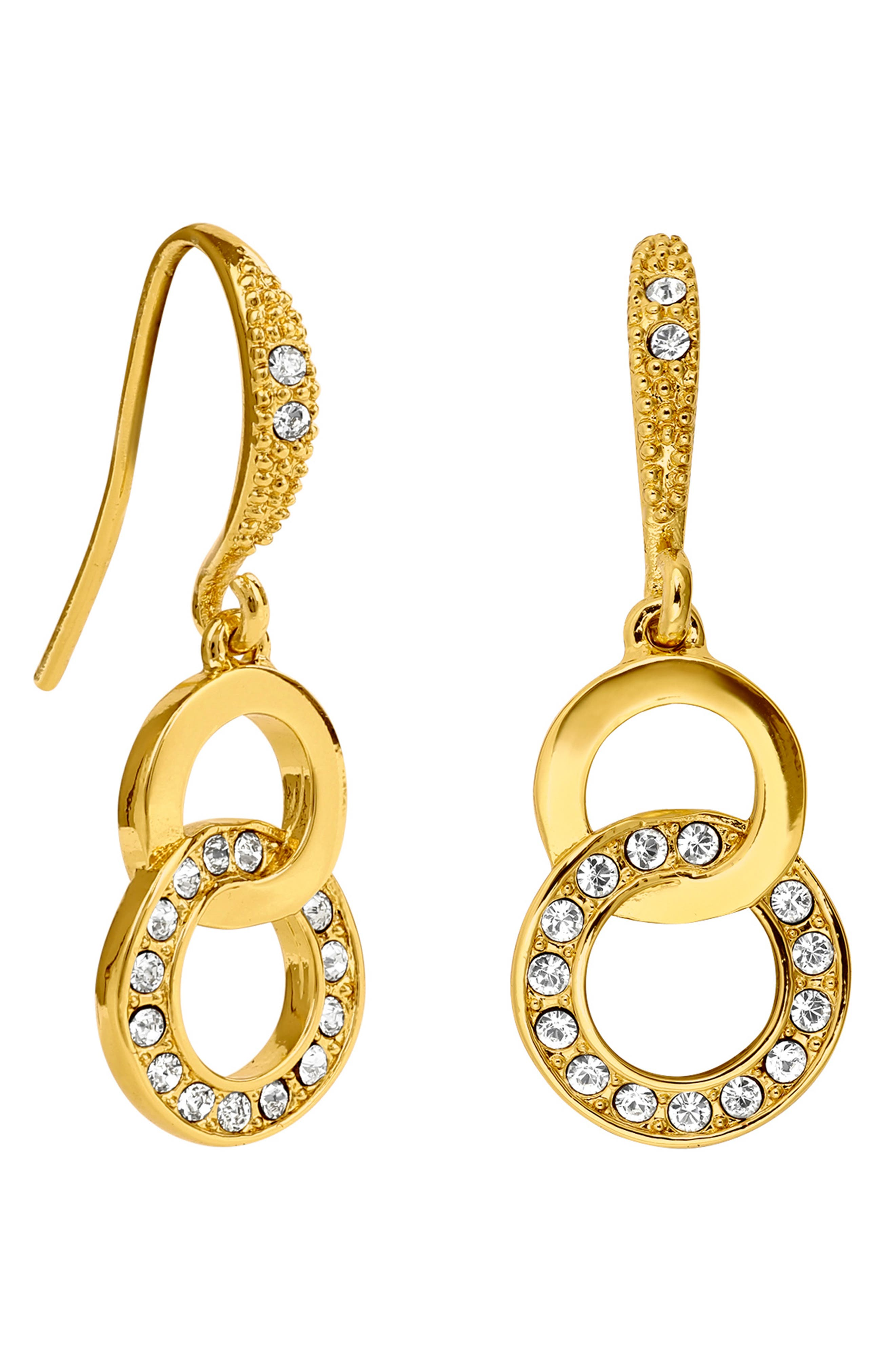 ADORE Interlocking Pave Rings Drop Earrings in Gold