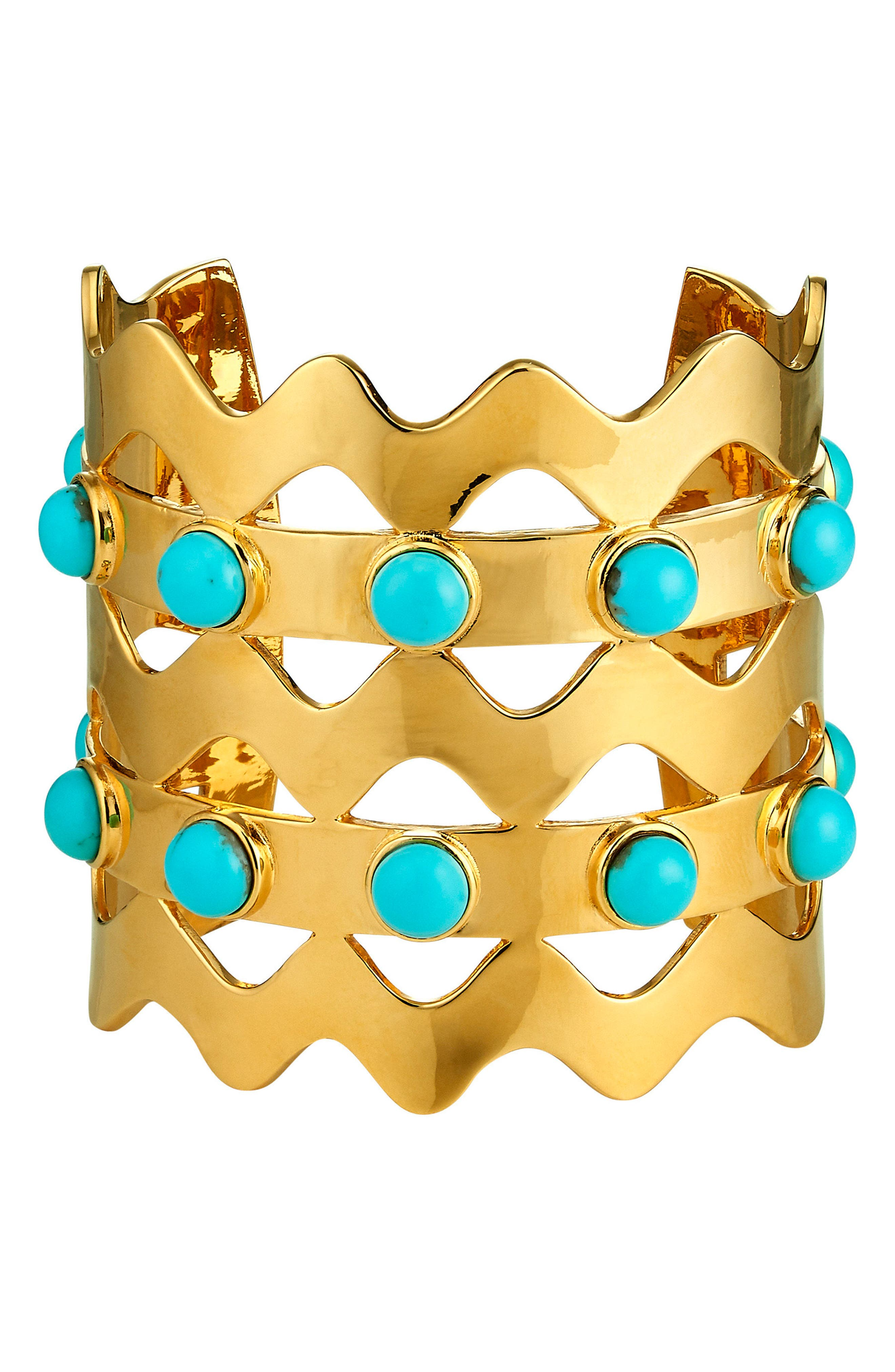 Jagger Cuff Bracelet,                             Main thumbnail 1, color,                             TURQUOISE/ GOLD