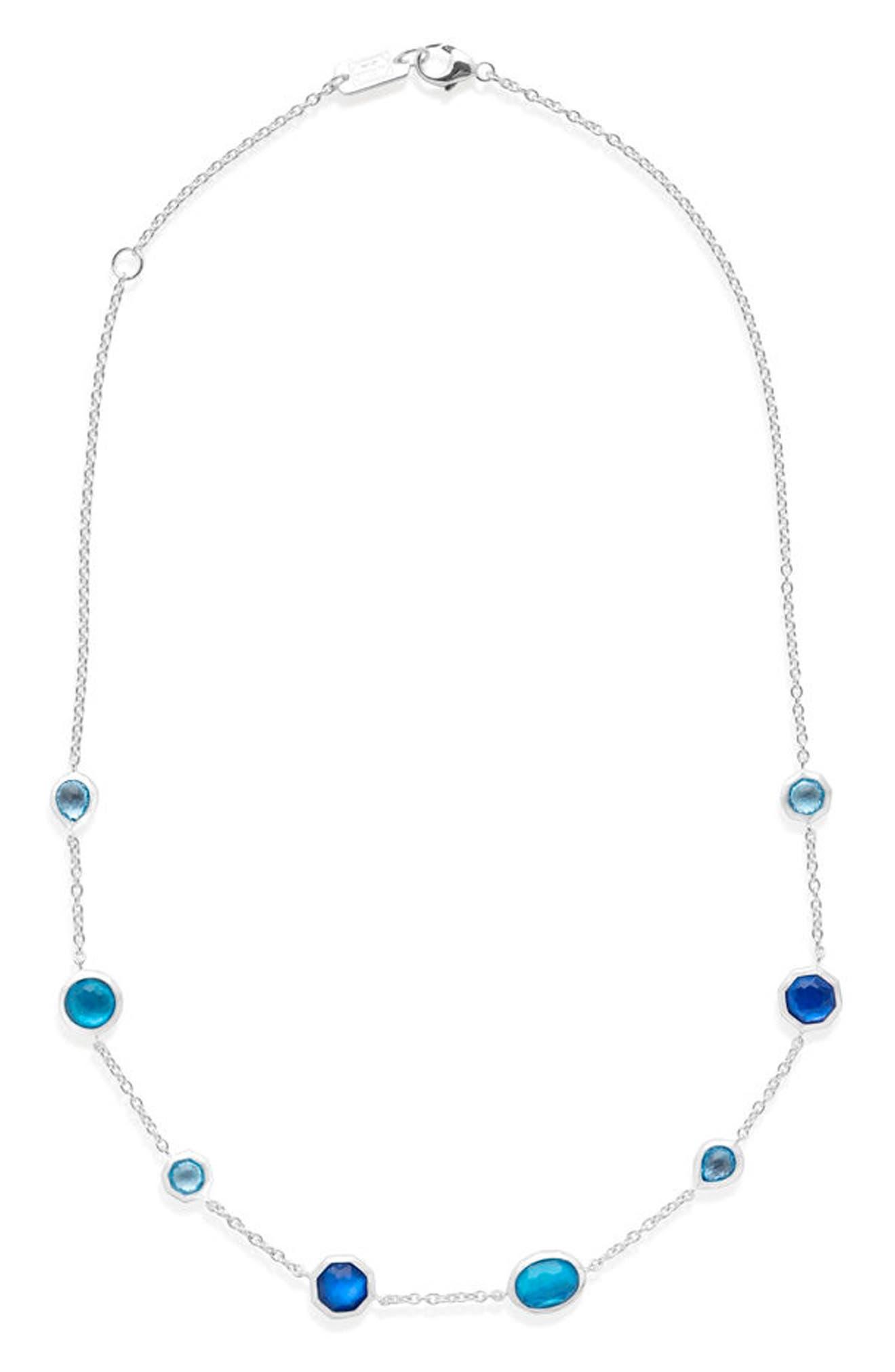 Wonderland Station Necklace,                             Main thumbnail 1, color,                             BLUE