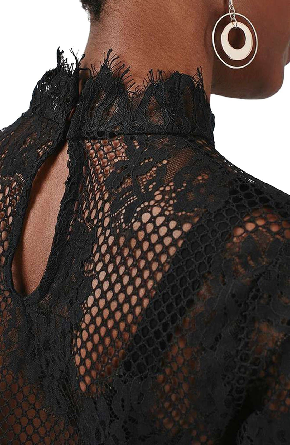 High Neck Sheer Mesh Lace Top,                             Alternate thumbnail 5, color,                             001