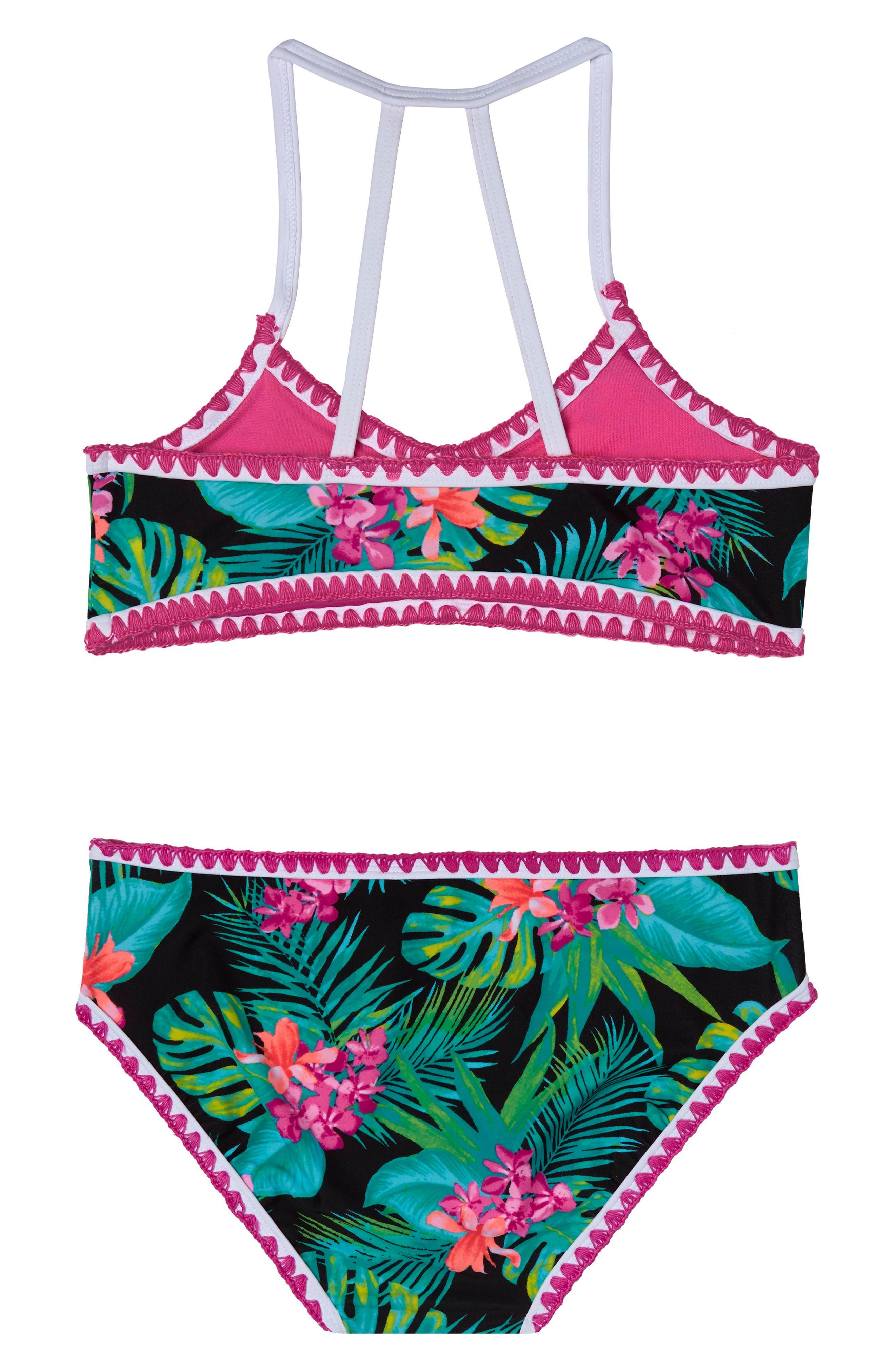 Tropical Escape Two-Piece Swimsuit,                             Alternate thumbnail 2, color,                             BLACK