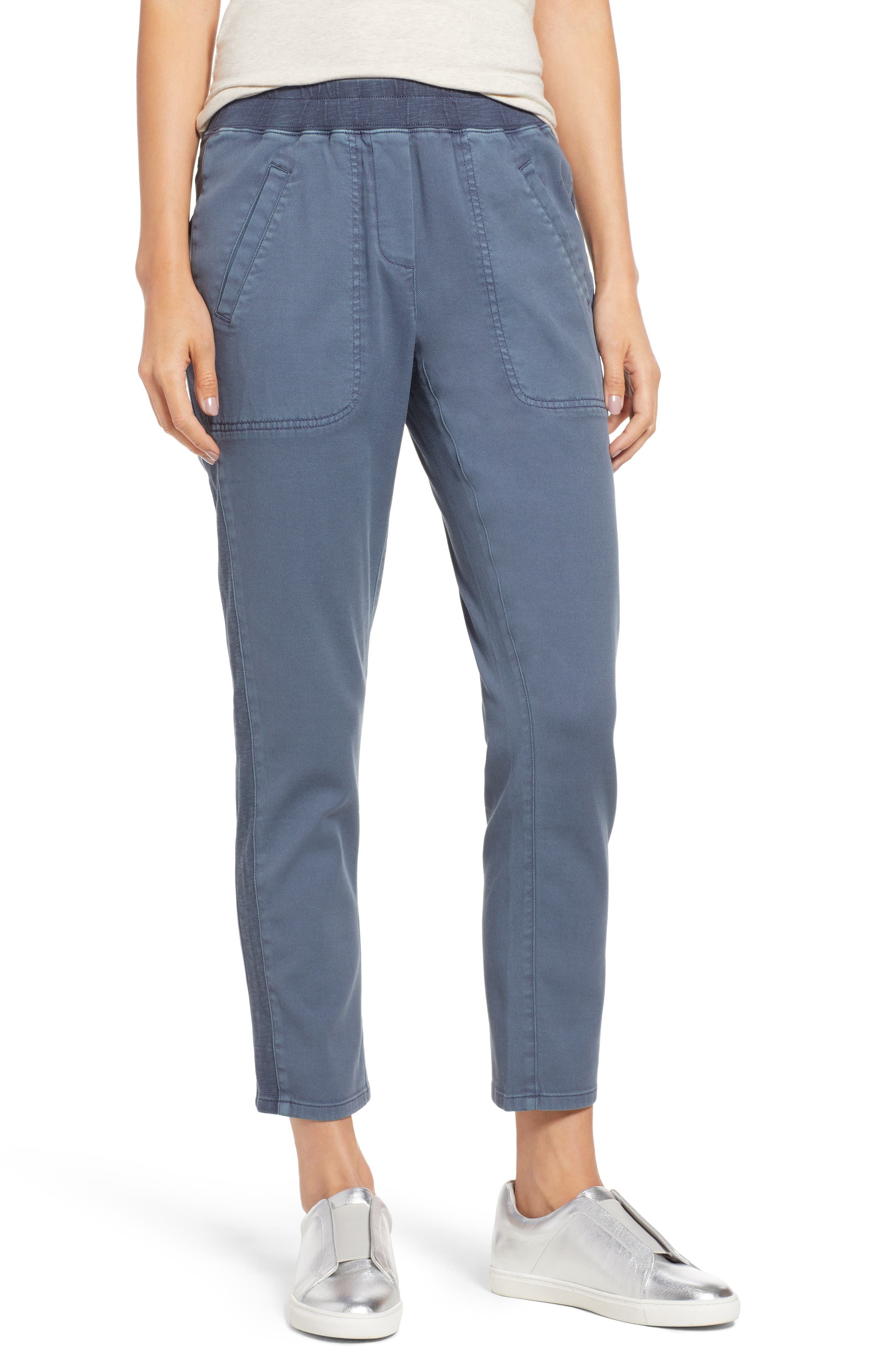 NIC + ZOE Garment-Dye Twill Pants, Petite in Bluestone