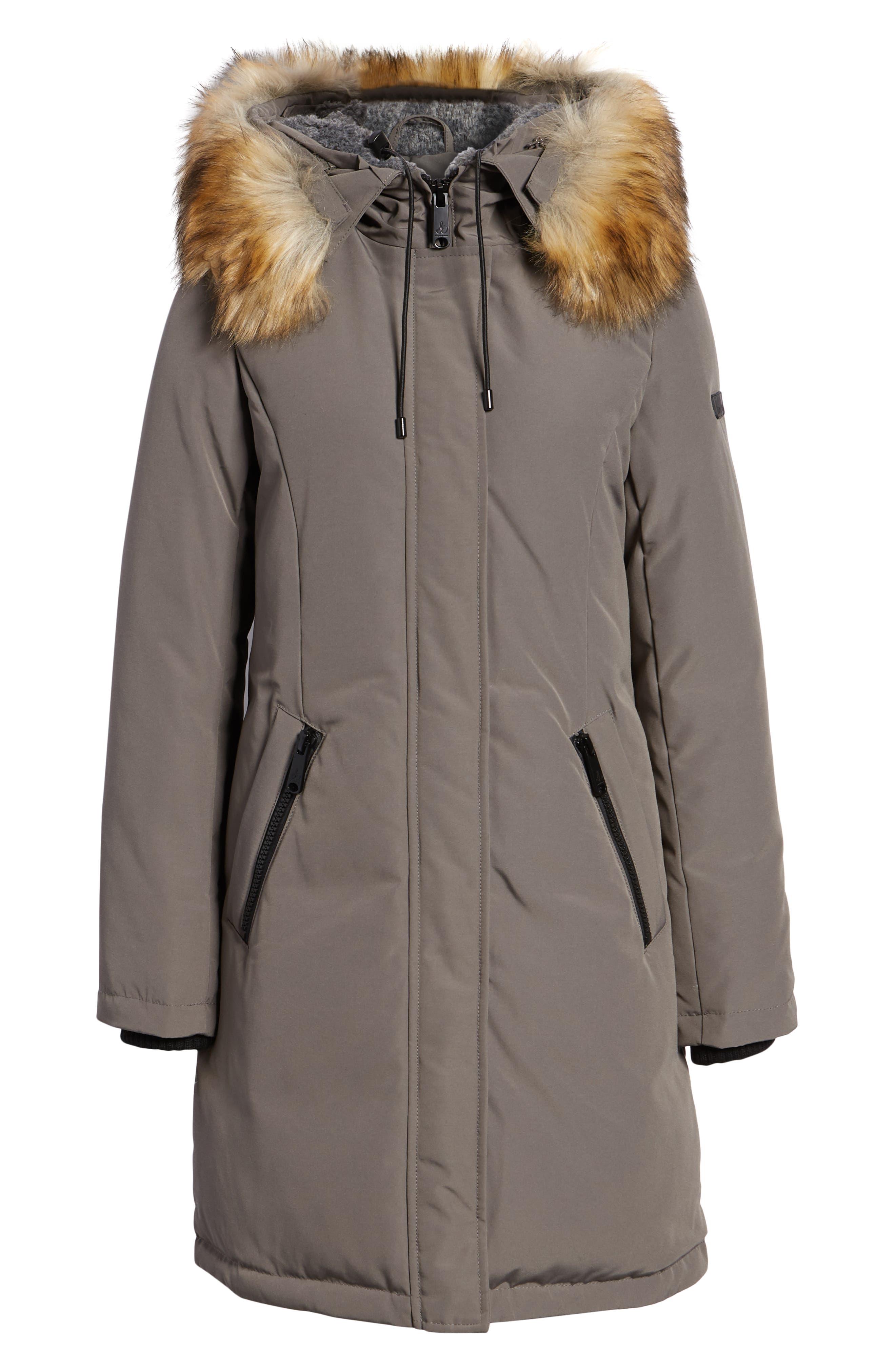 Faux Fur Trim Down Jacket,                             Alternate thumbnail 6, color,                             LIGHT GREY
