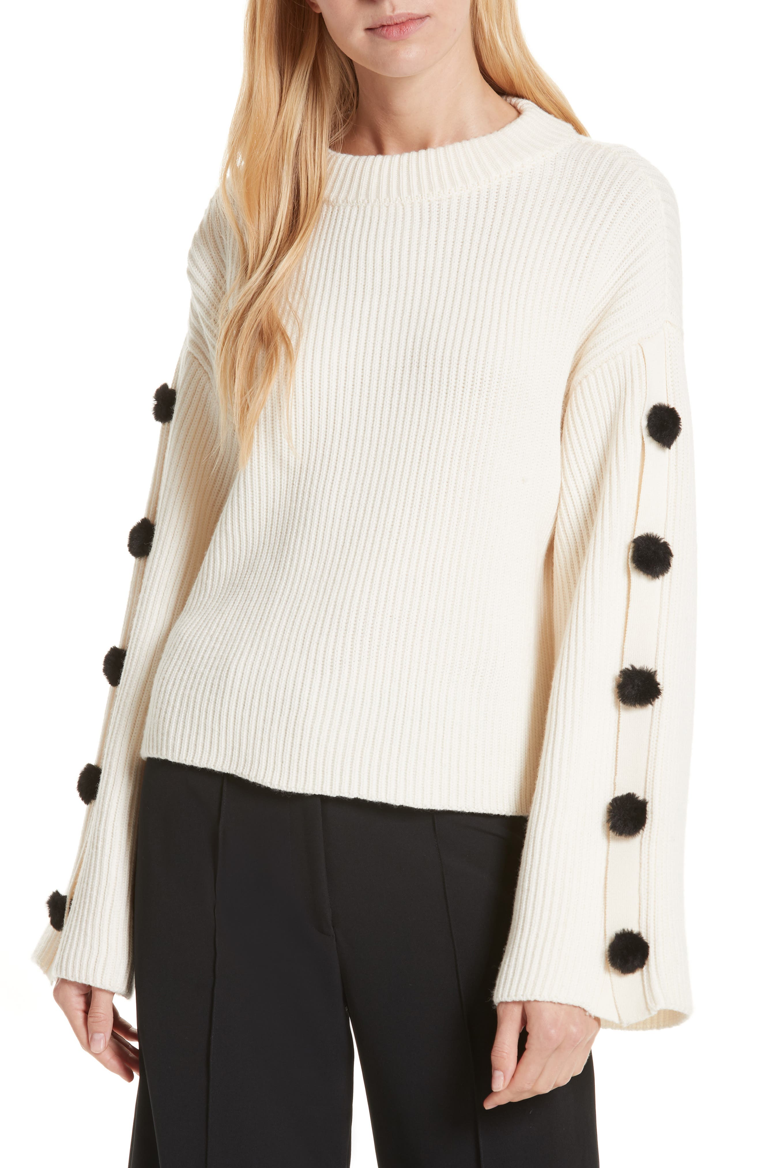 Milly Faux Fur Button Wool Sweater, Size Petite - White