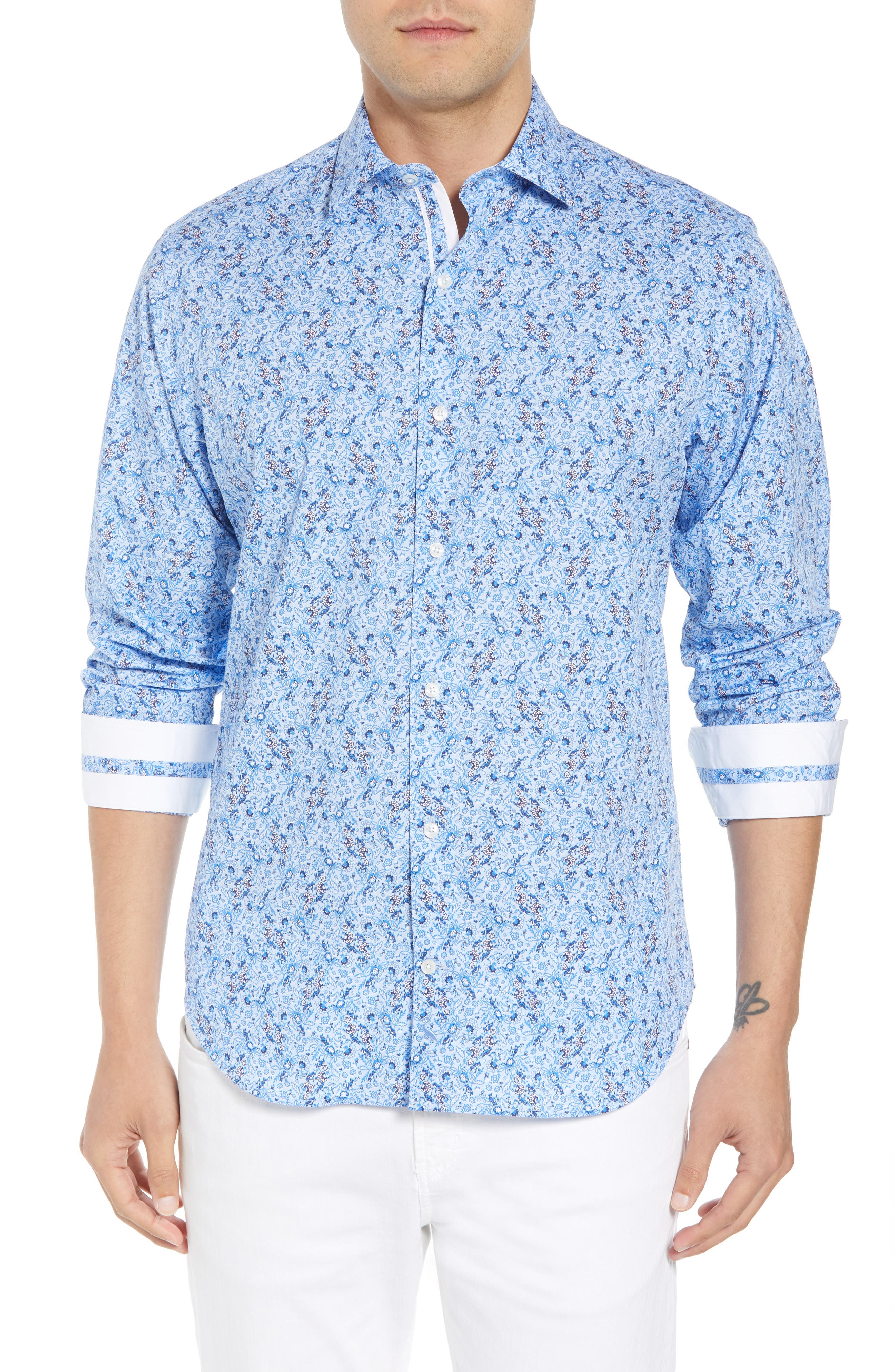 Stewart Regular Fit Floral Sport Shirt,                         Main,                         color, 400