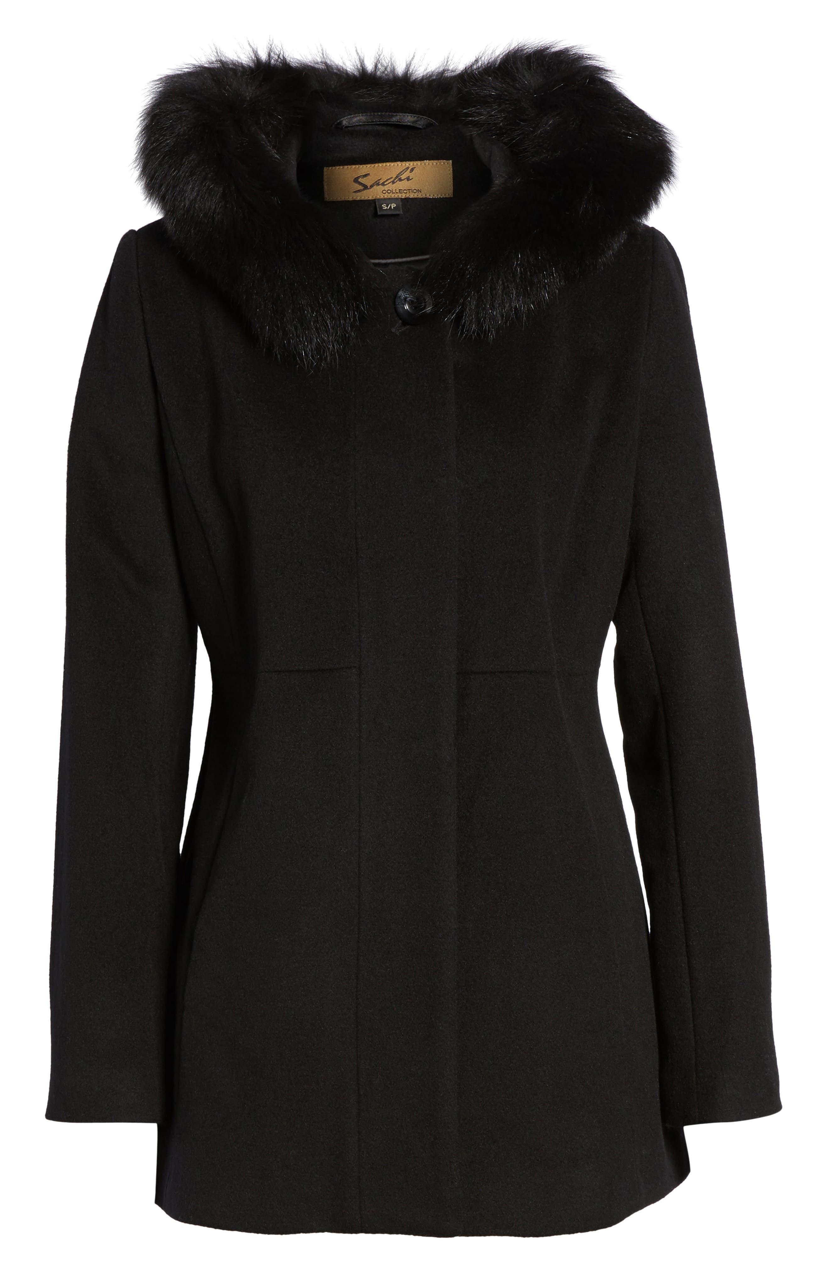 Genuine Fox Fur Trim Hooded Wool Blend Coat,                             Alternate thumbnail 6, color,                             001