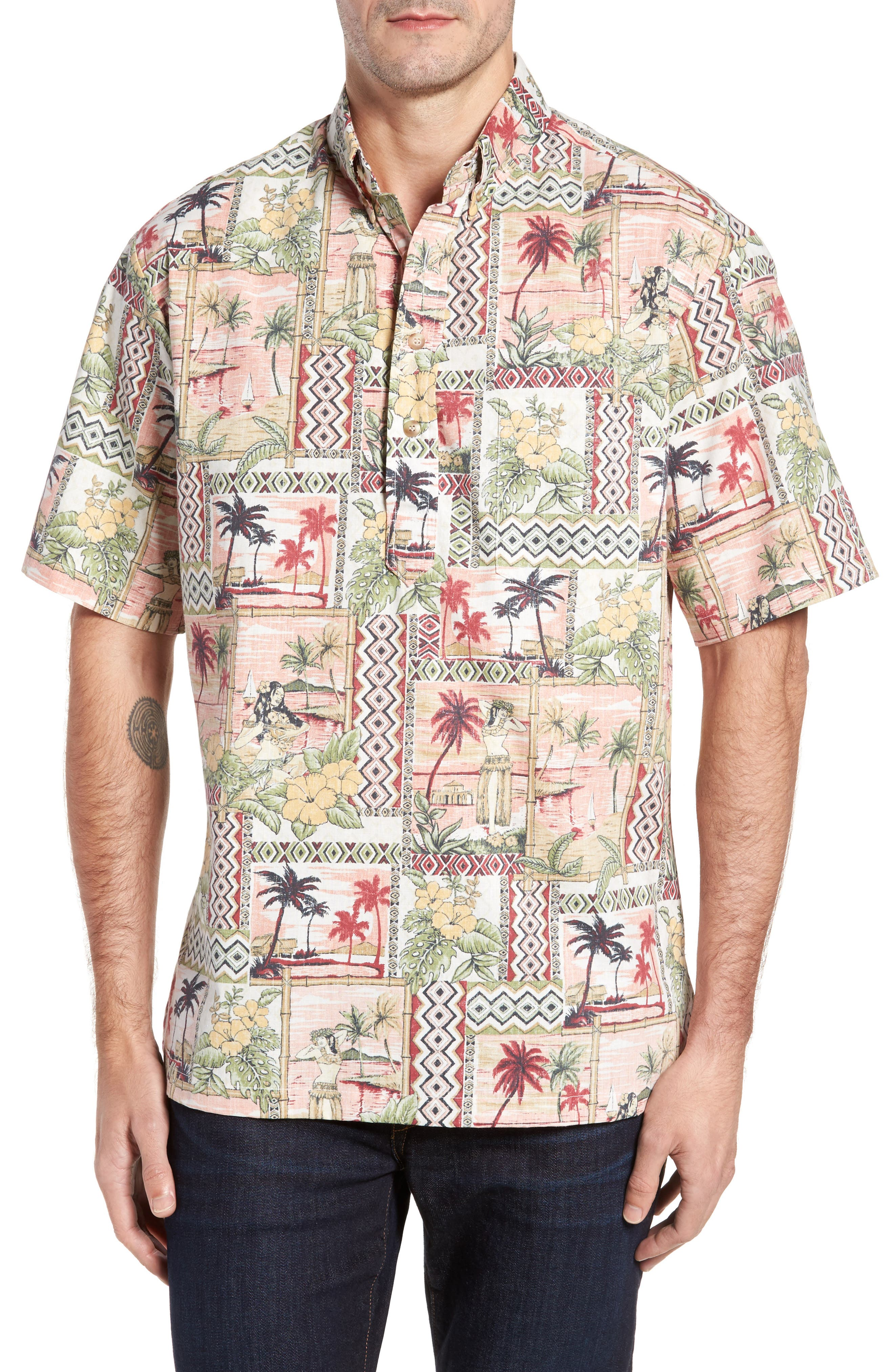 Aloha Classic Fit Pullover Camp Shirt,                         Main,                         color, 605
