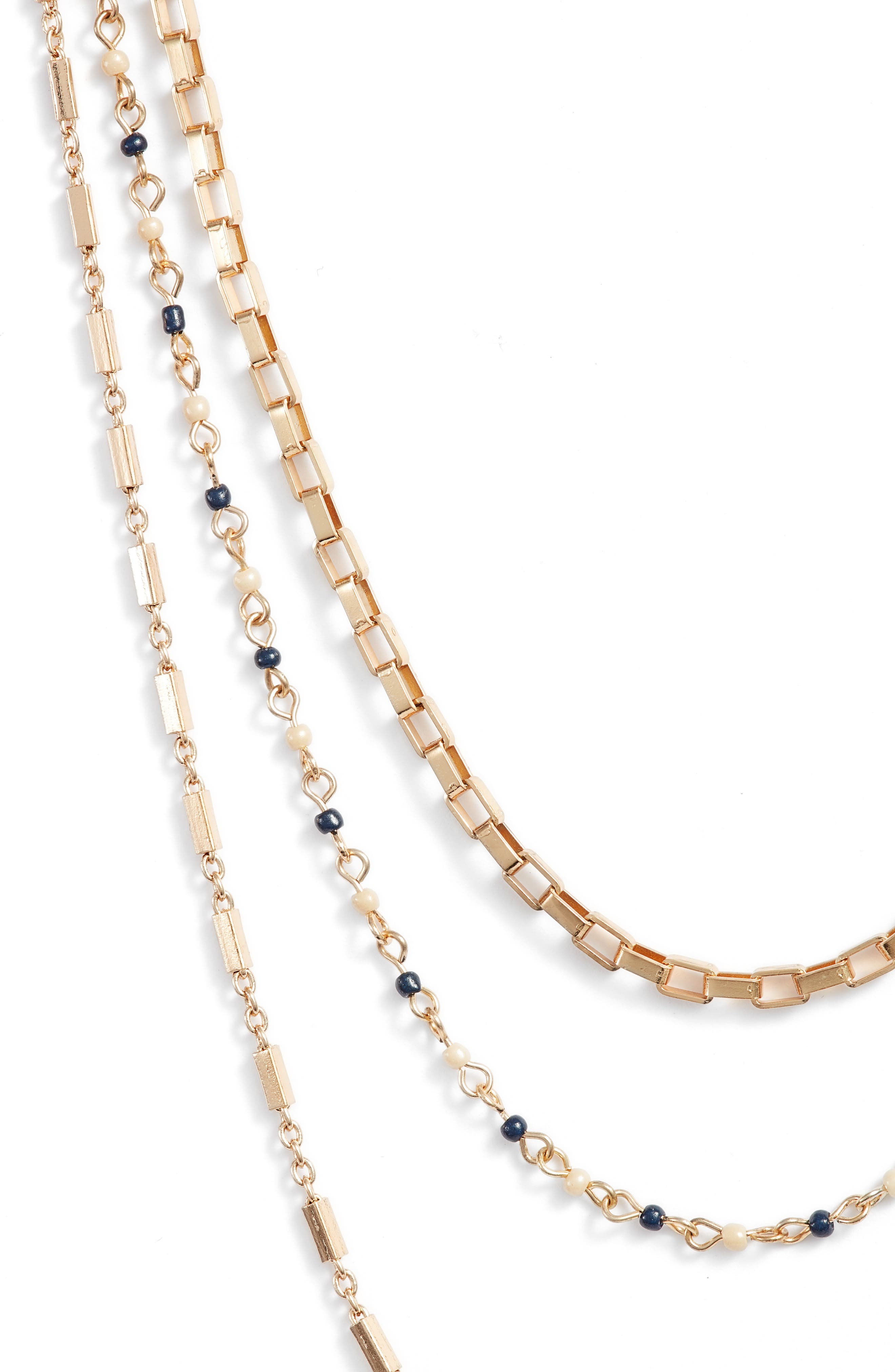 Layered Mixed Chain Necklace,                             Alternate thumbnail 2, color,                             NAVY MULTI/ GOLD
