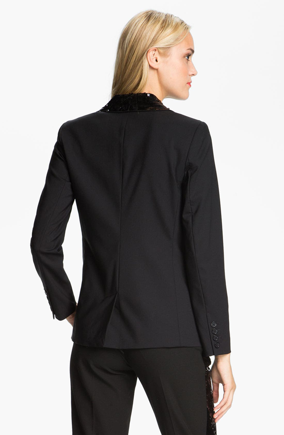 MICHAEL MICHAEL KORS,                             Sequin Peak Lapel Blazer,                             Alternate thumbnail 2, color,                             001