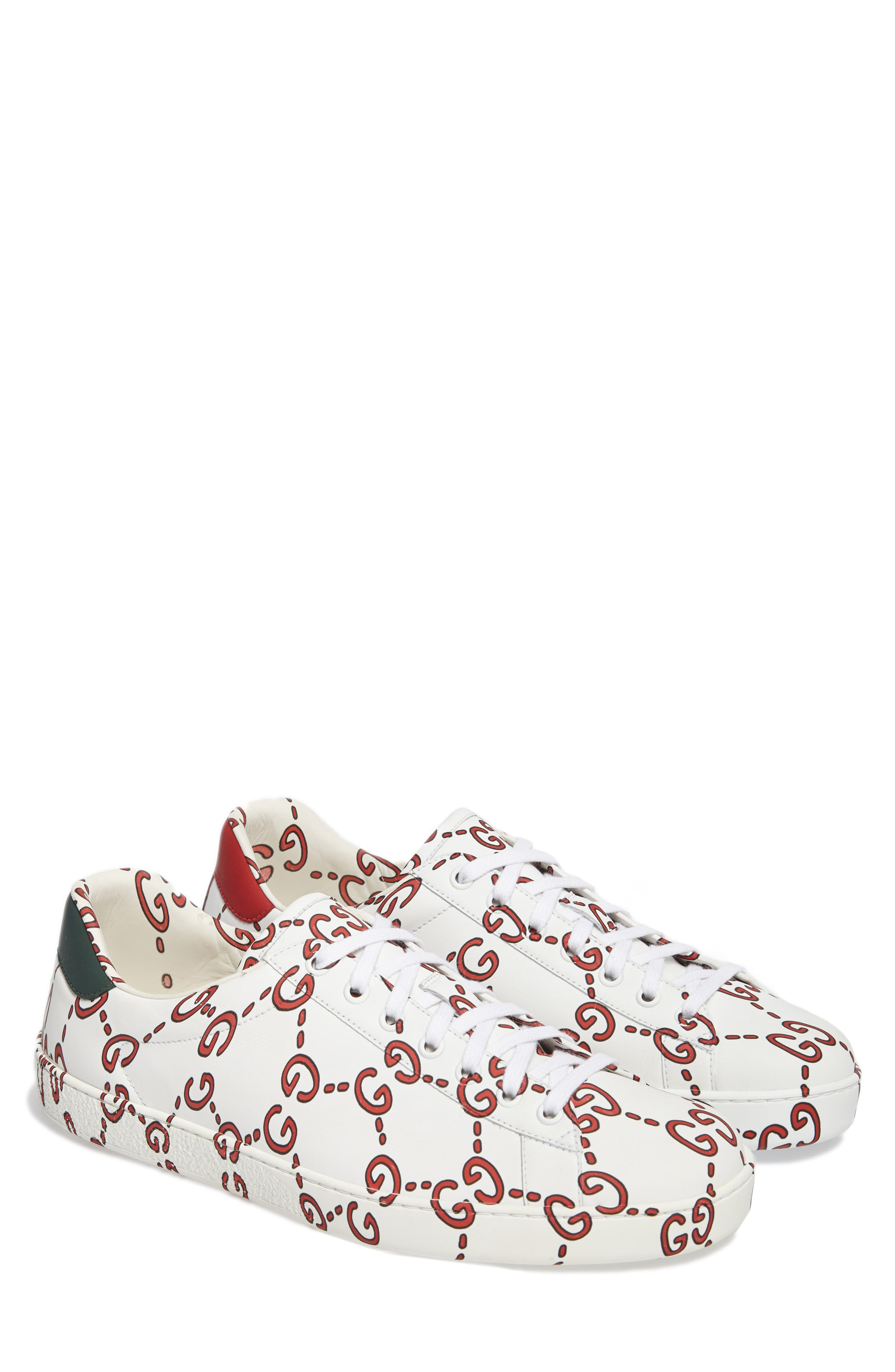New Ace GG Print Sneaker,                         Main,                         color, WHITE