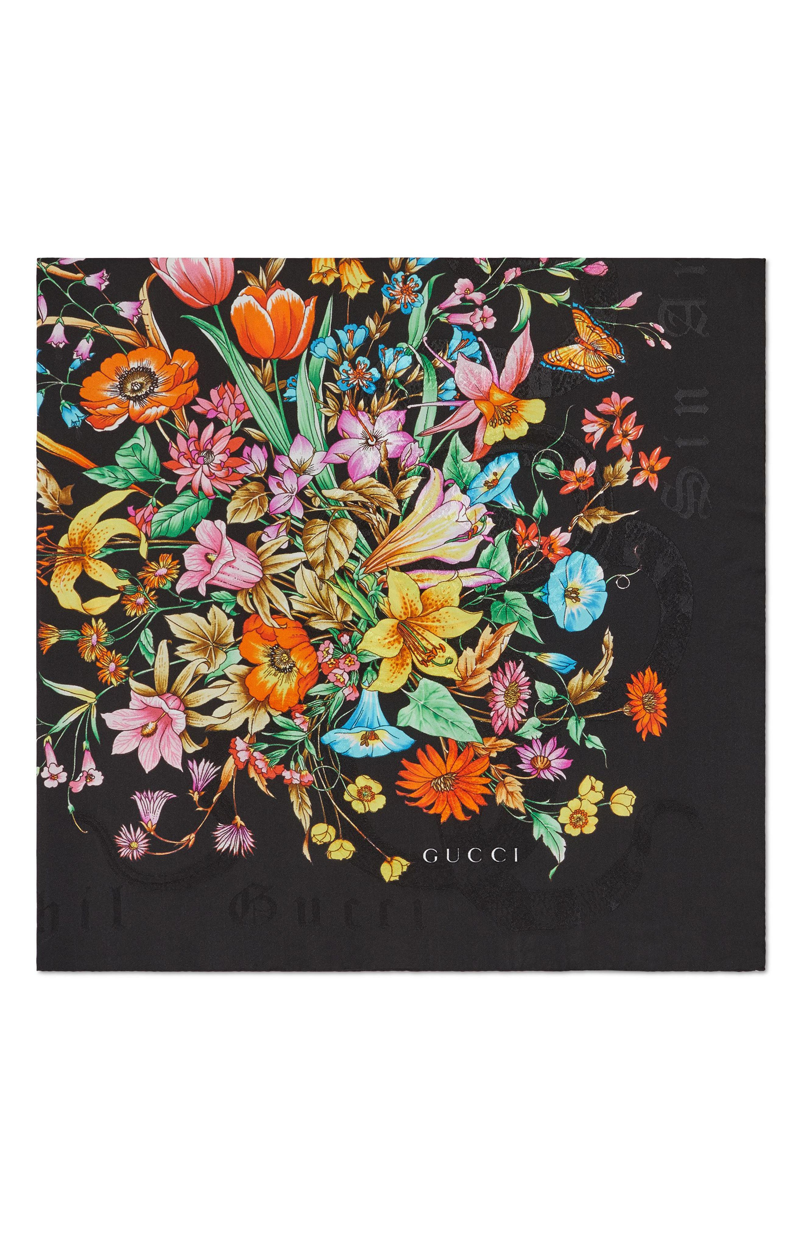 Sine Bouquet Silk Twill Scarf,                             Alternate thumbnail 2, color,                             BLACK/ BLACK