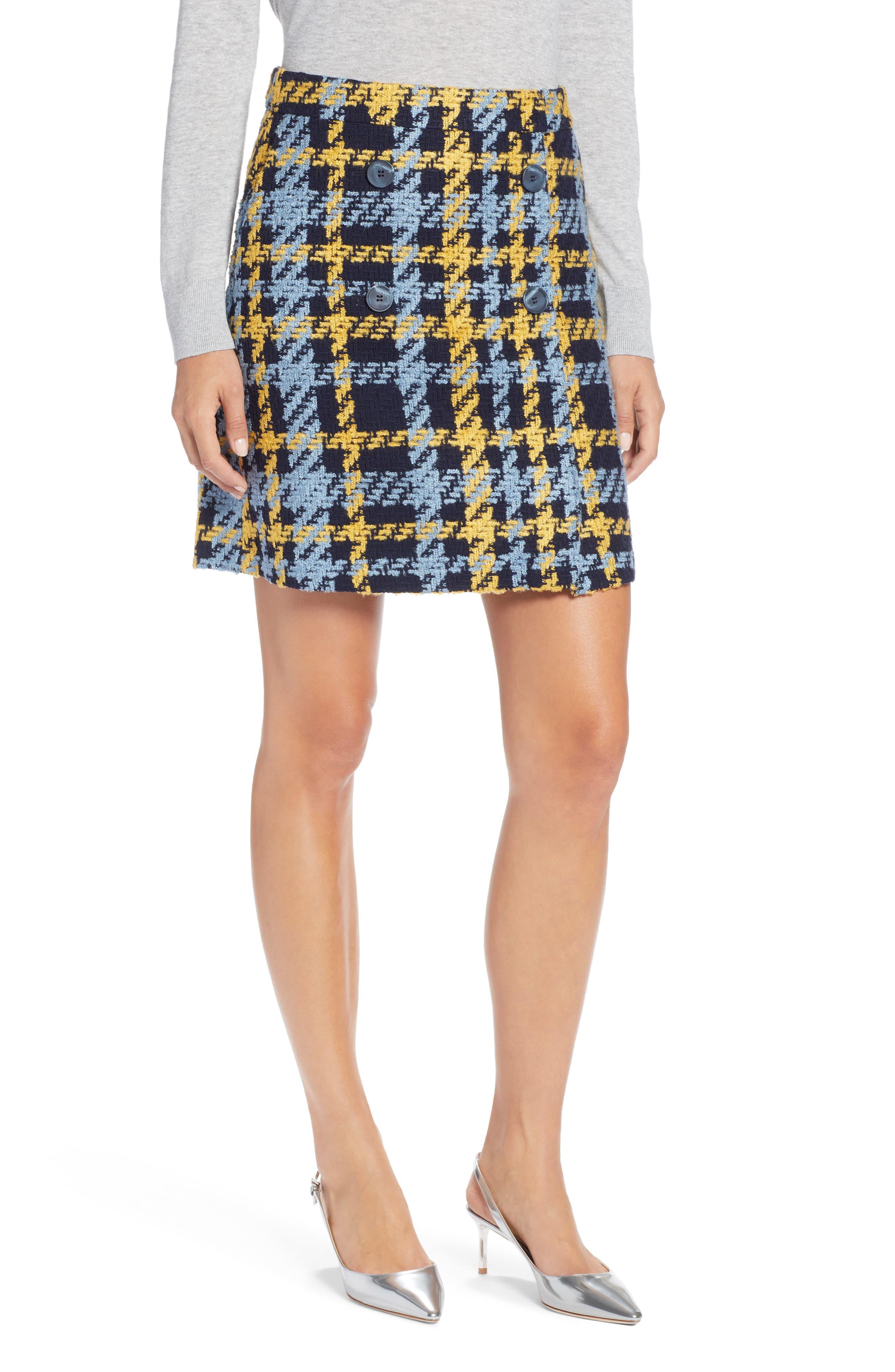 Button Detail Plaid Skirt,                             Main thumbnail 1, color,                             410