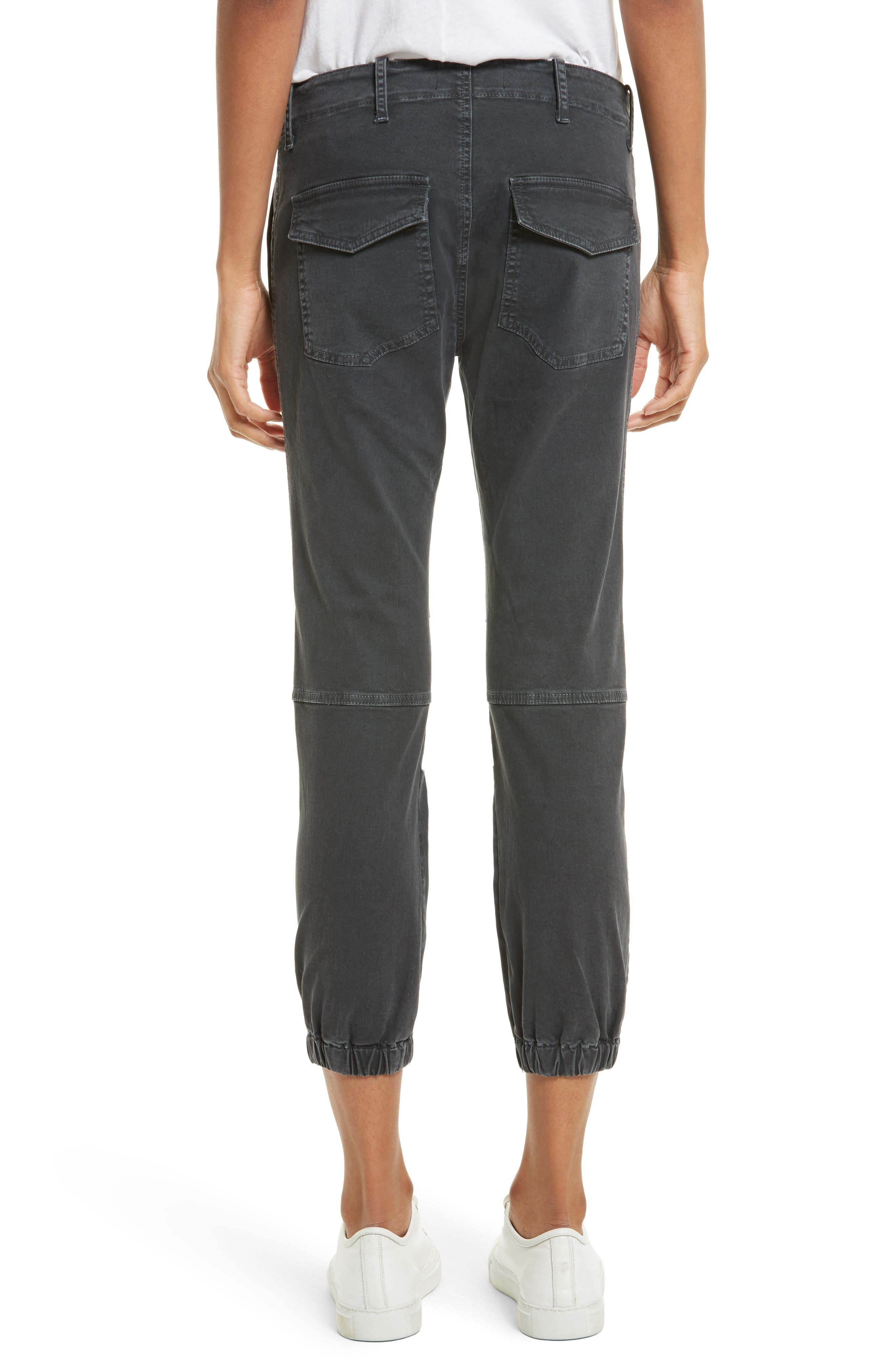 Stretch Cotton Twill Crop Military Pants,                             Alternate thumbnail 2, color,                             CARBON
