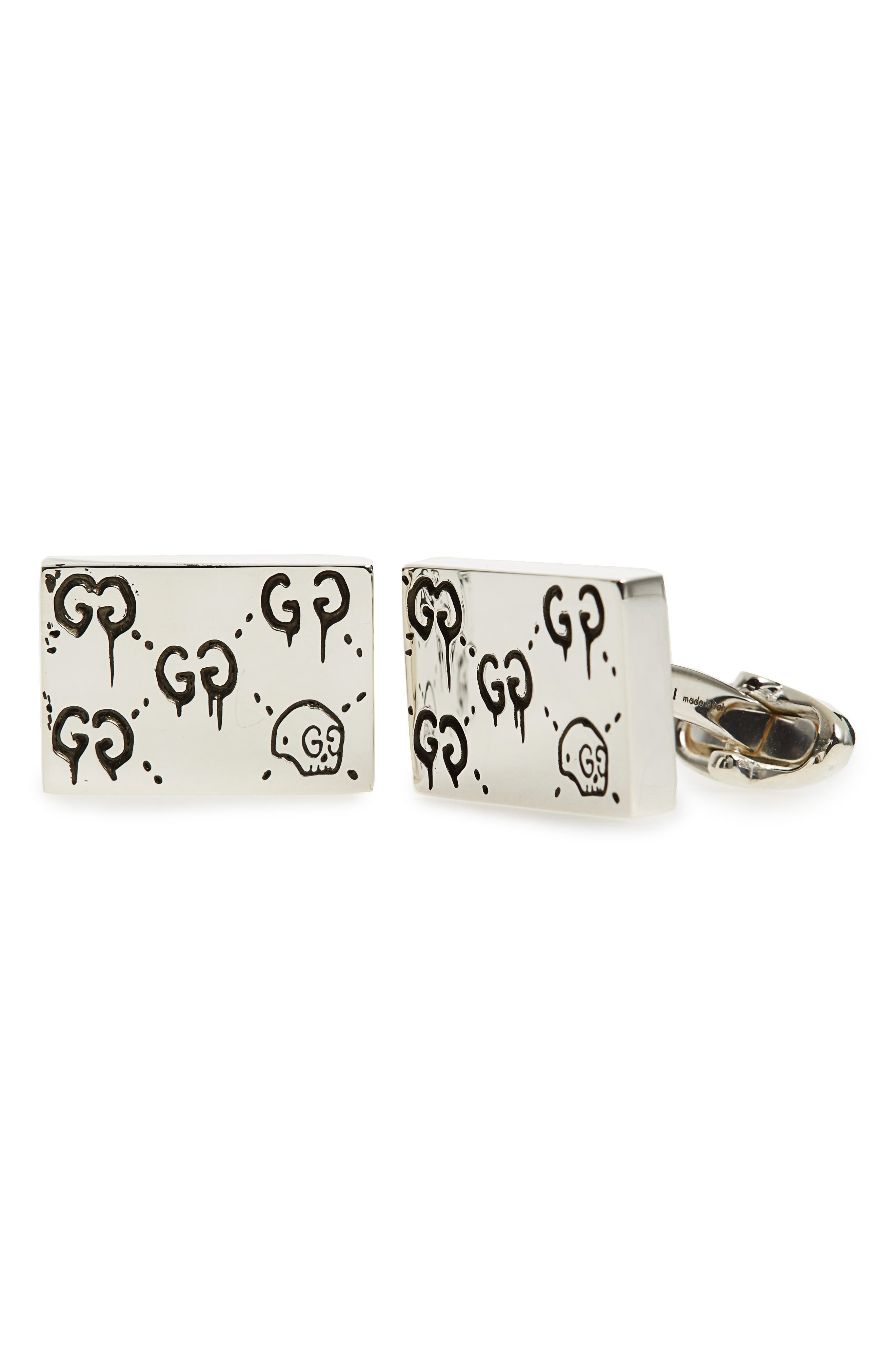 Ghost Motif Cuff Links,                         Main,                         color, SILVER