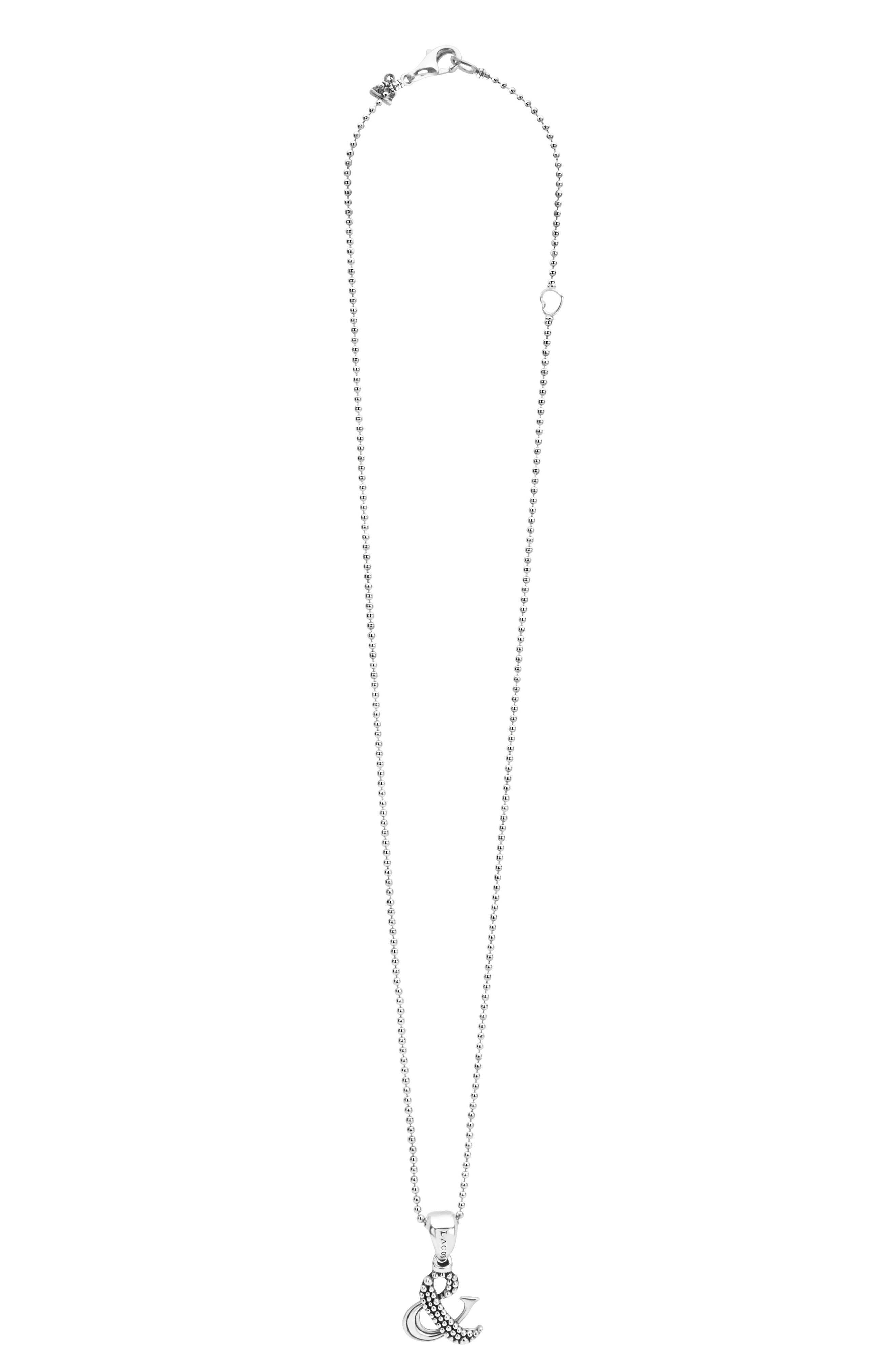 'Beloved' Ampersand Pendant Necklace,                             Alternate thumbnail 4, color,                             STERLING SILVER
