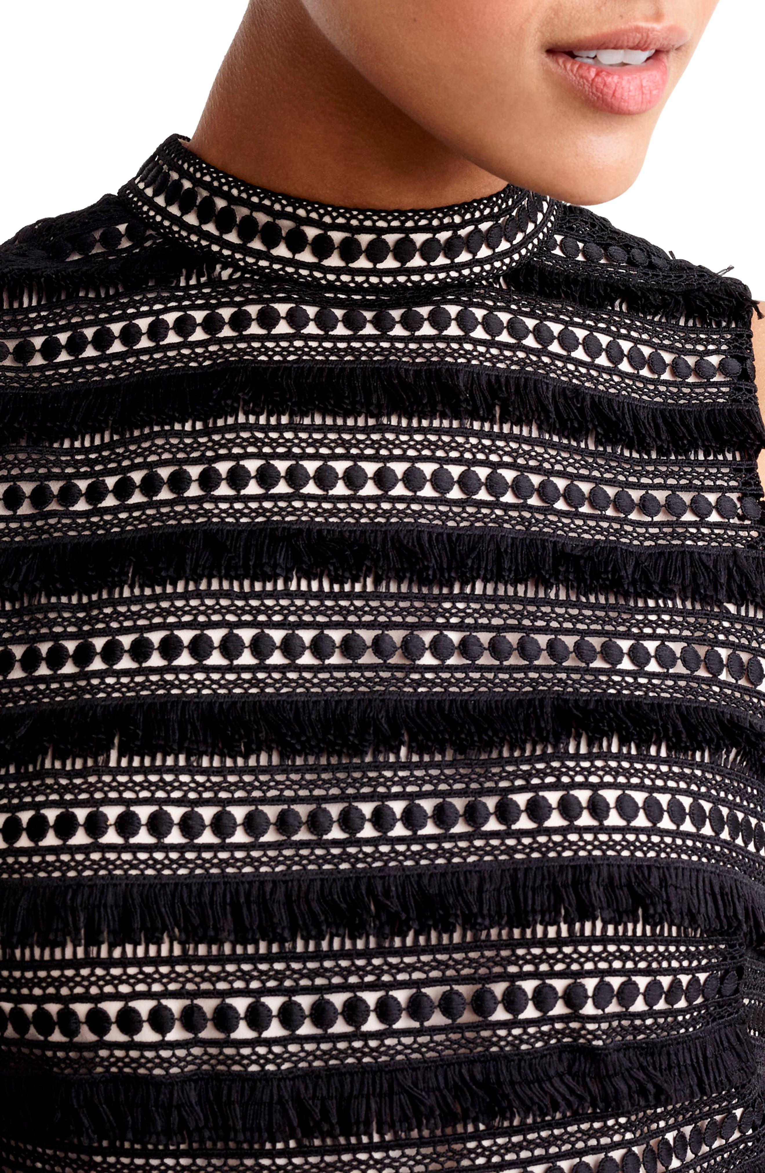 Fringy Lace Sheath Dress,                             Alternate thumbnail 3, color,                             001
