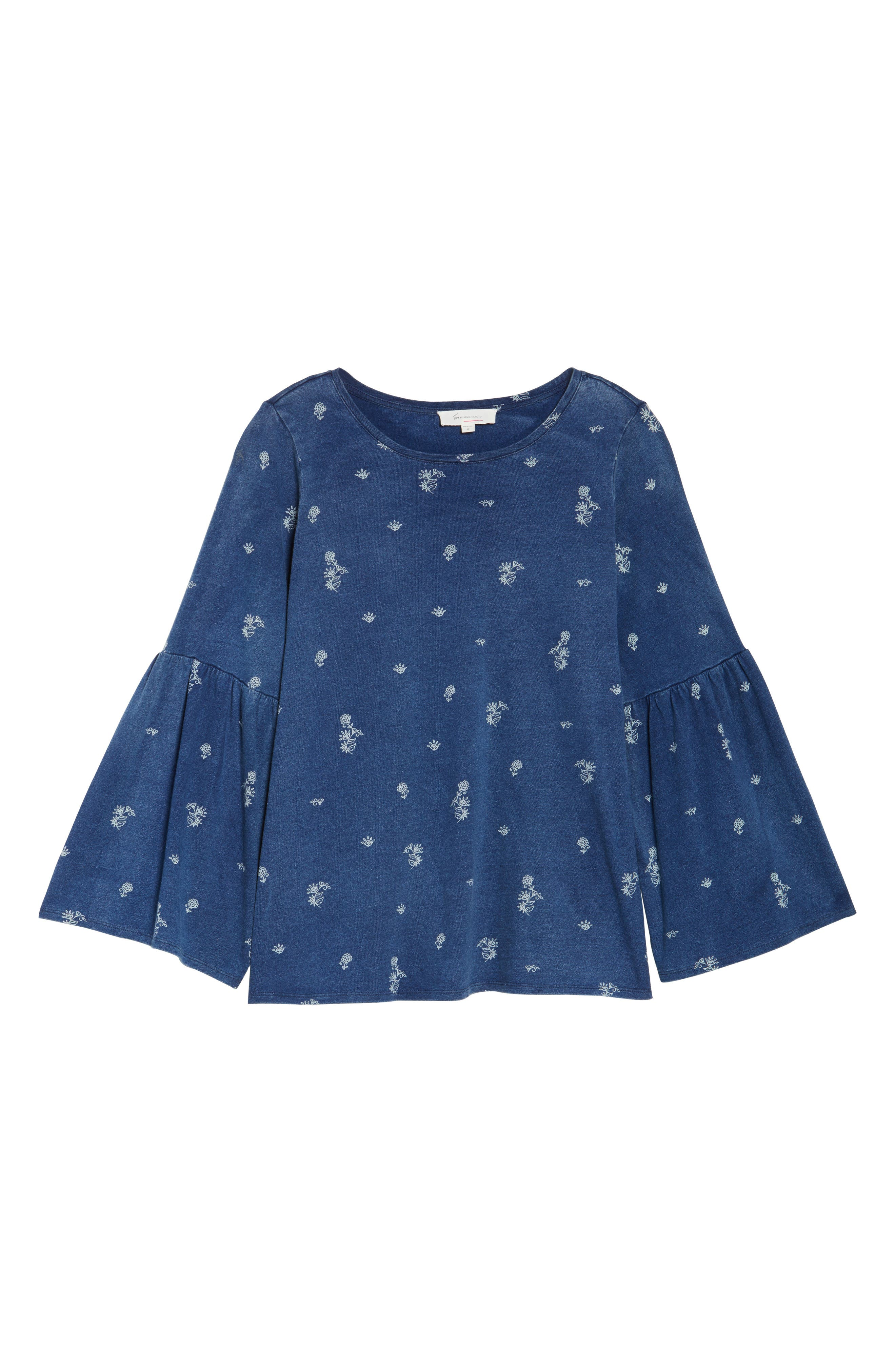 Ditzy Floral Print Bell Sleeve Top,                             Alternate thumbnail 6, color,                             TRUE INDIGO