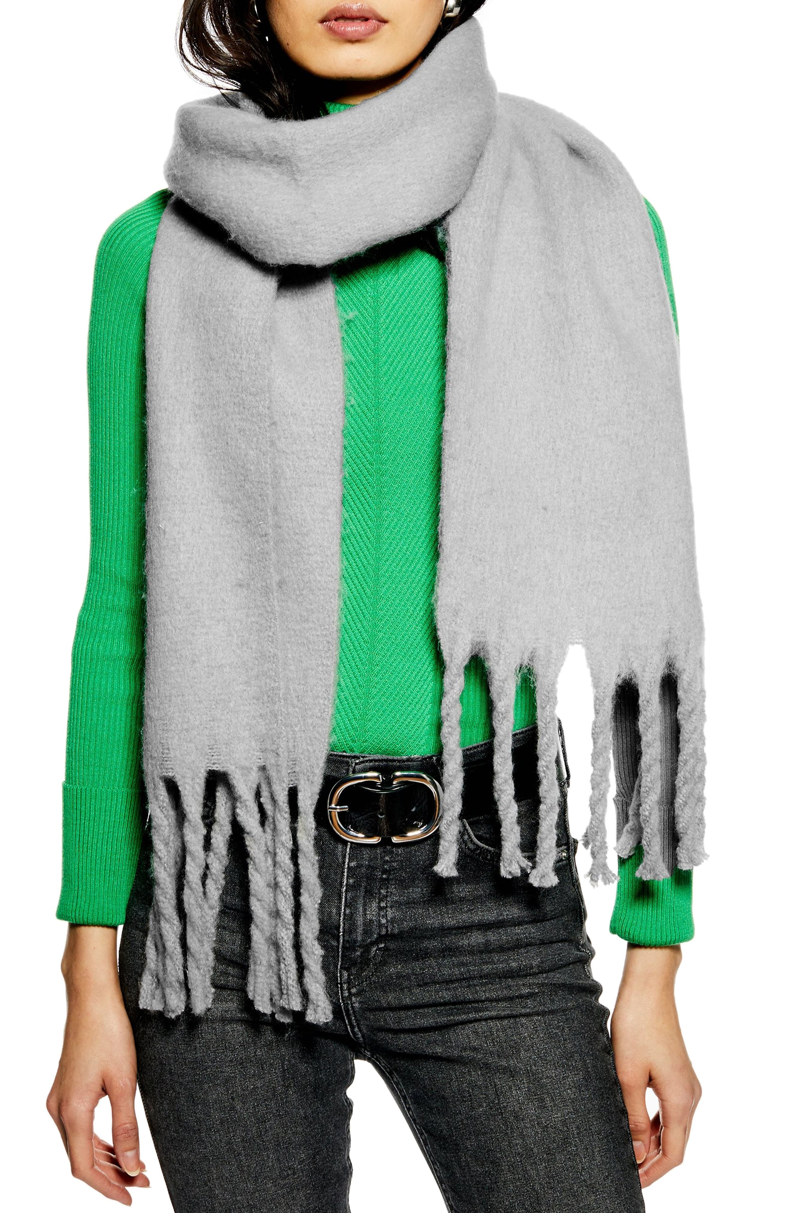 TOPSHOP,                             Heavy Brushed Scarf,                             Main thumbnail 1, color,                             050