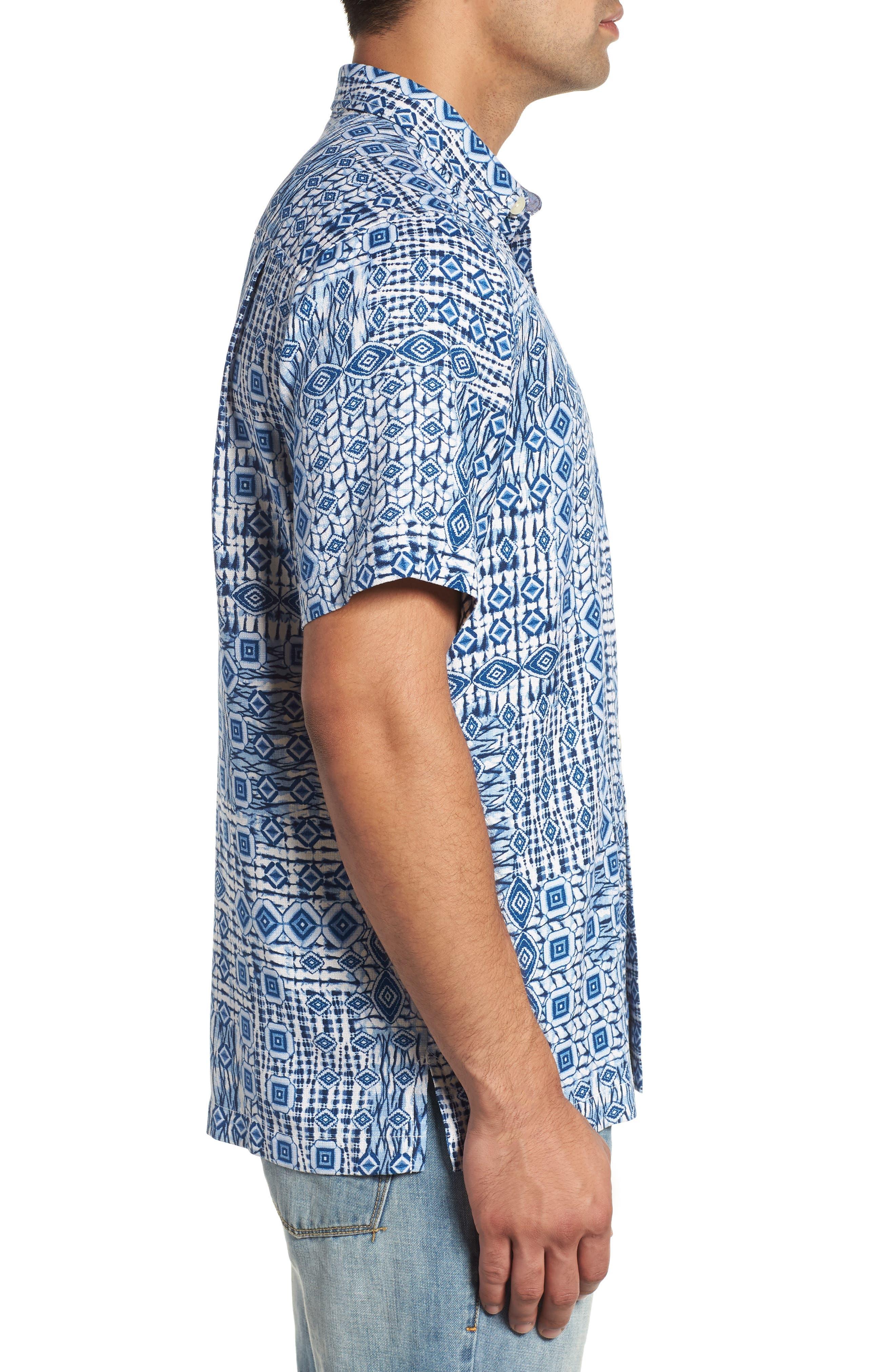 Tile Traveler Regular Fit Silk Camp Shirt,                             Alternate thumbnail 4, color,                             BLUE JEAN