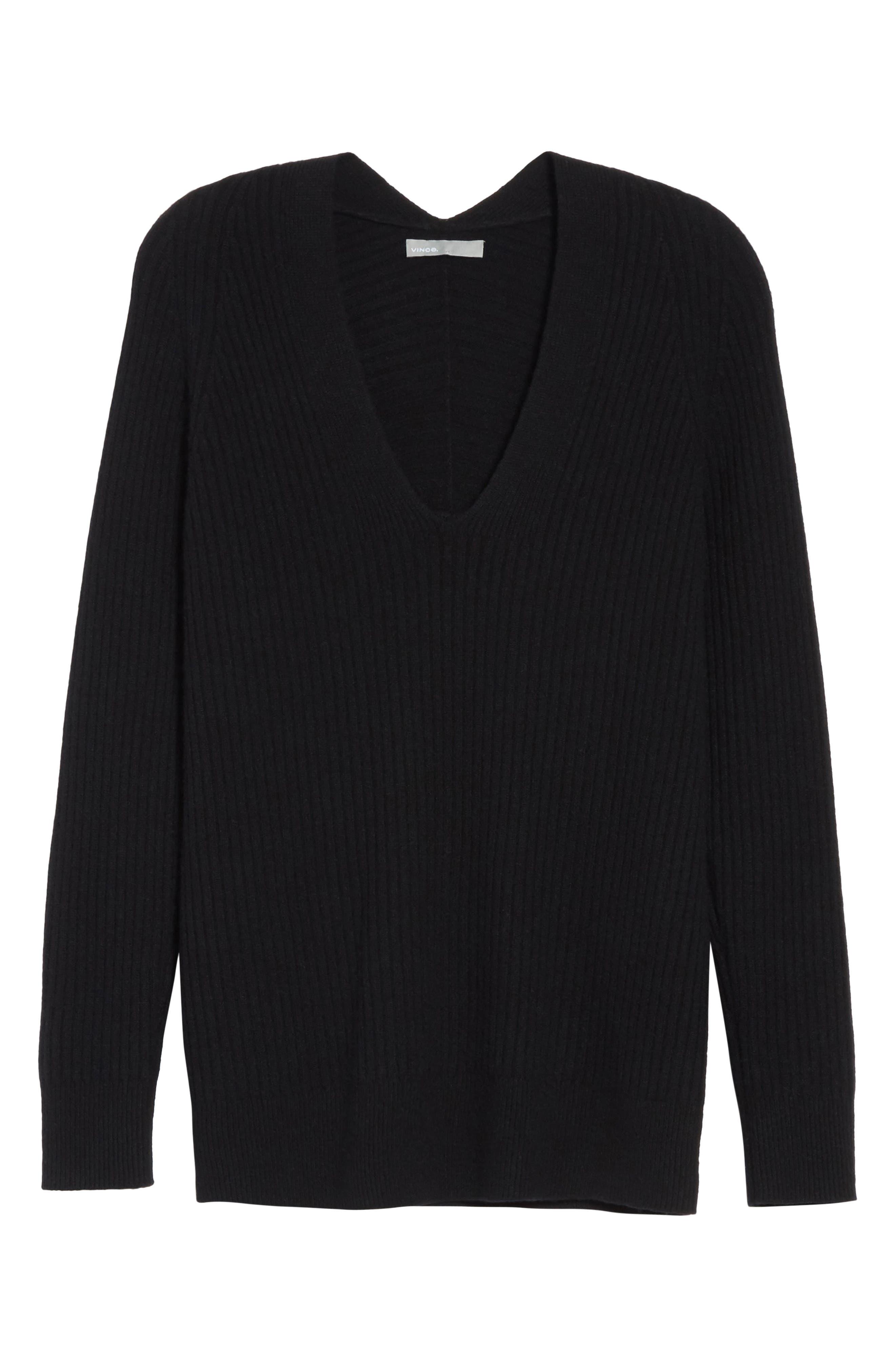 Wool Blend Raglan V-Neck Sweater,                             Alternate thumbnail 6, color,                             001