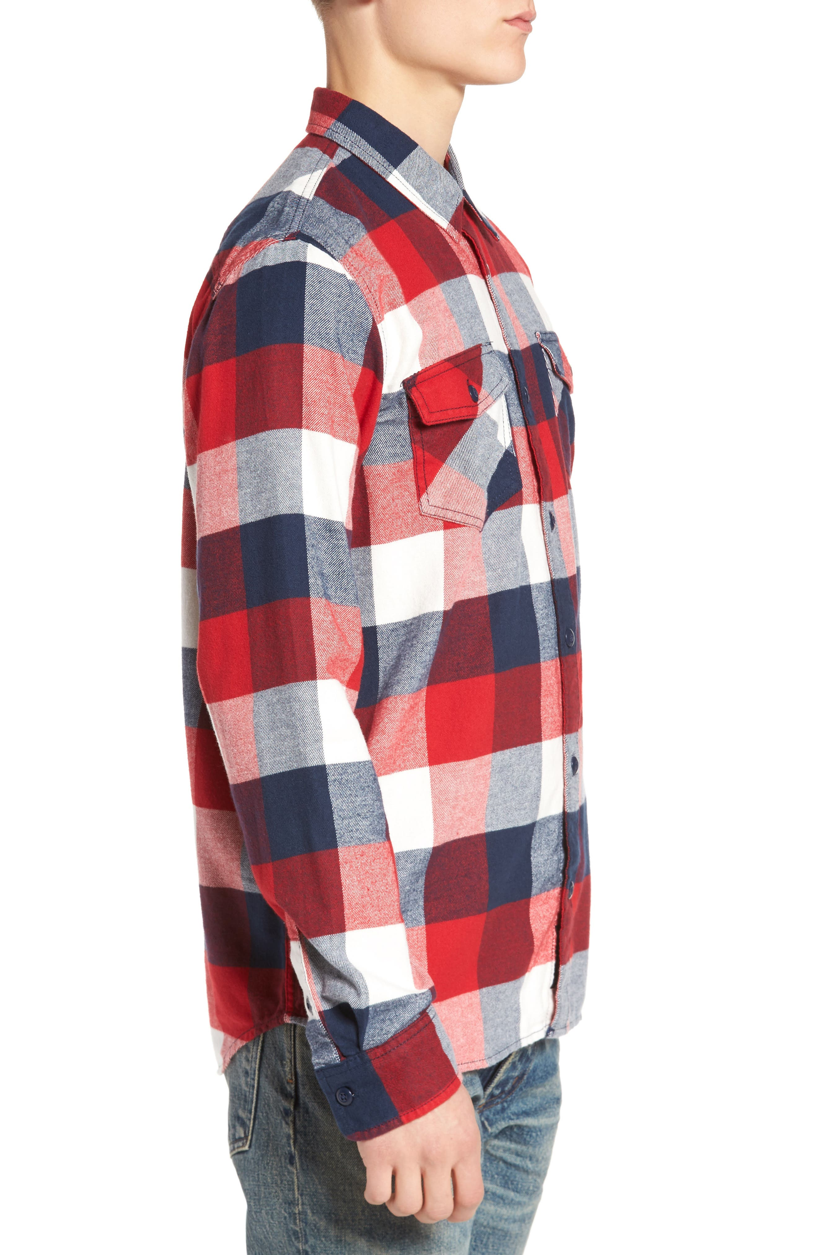 Trim Fit Check Flannel Woven Shirt,                             Alternate thumbnail 12, color,