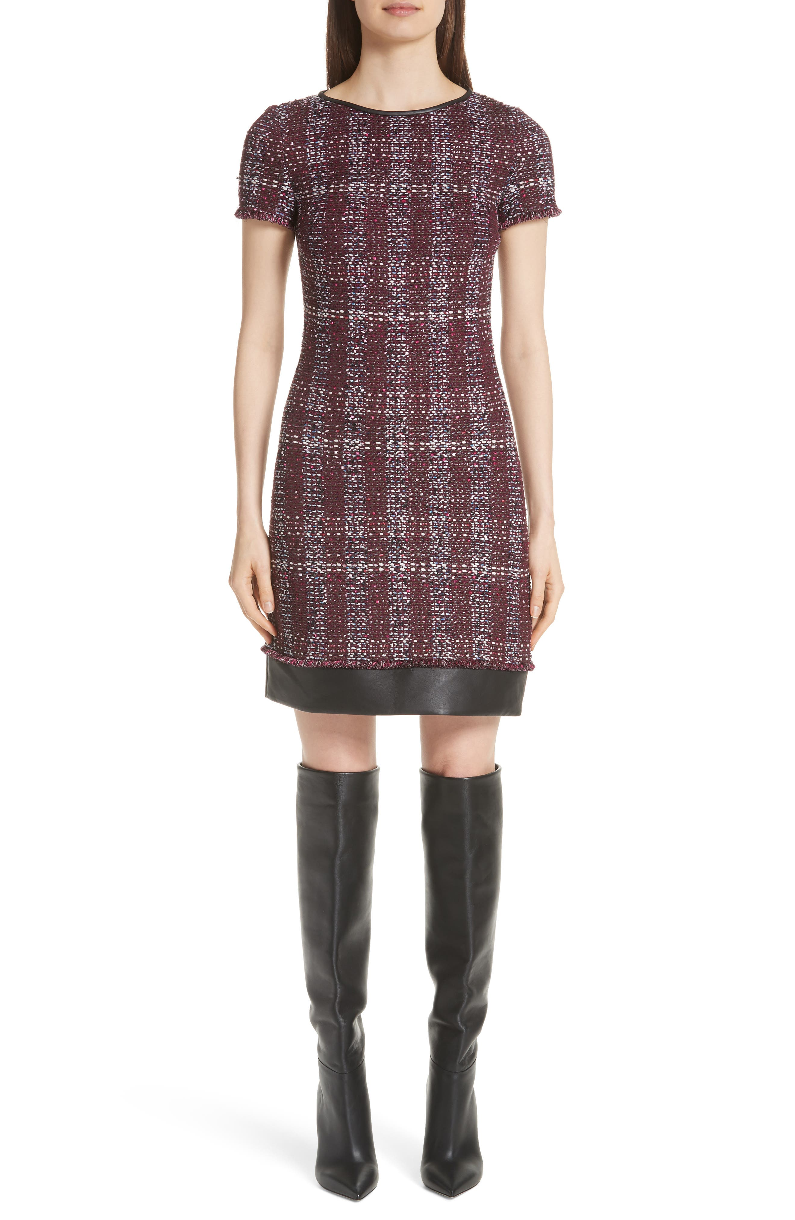 St. John Collection Flecked Textures Plaid Knit Dress