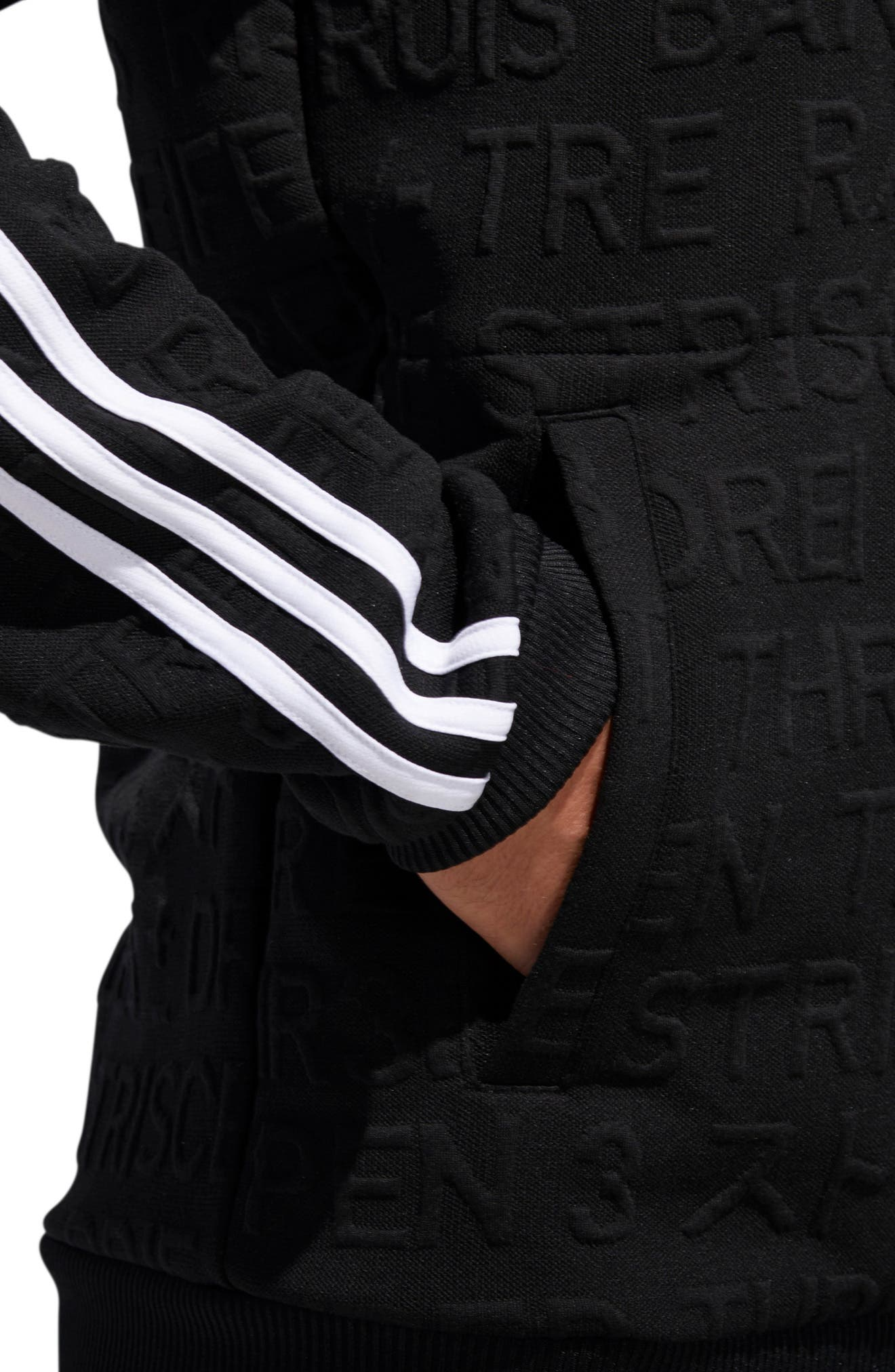 ADIDAS,                             3-Stripes Hoodie Sweatshirt,                             Alternate thumbnail 7, color,                             BLACK