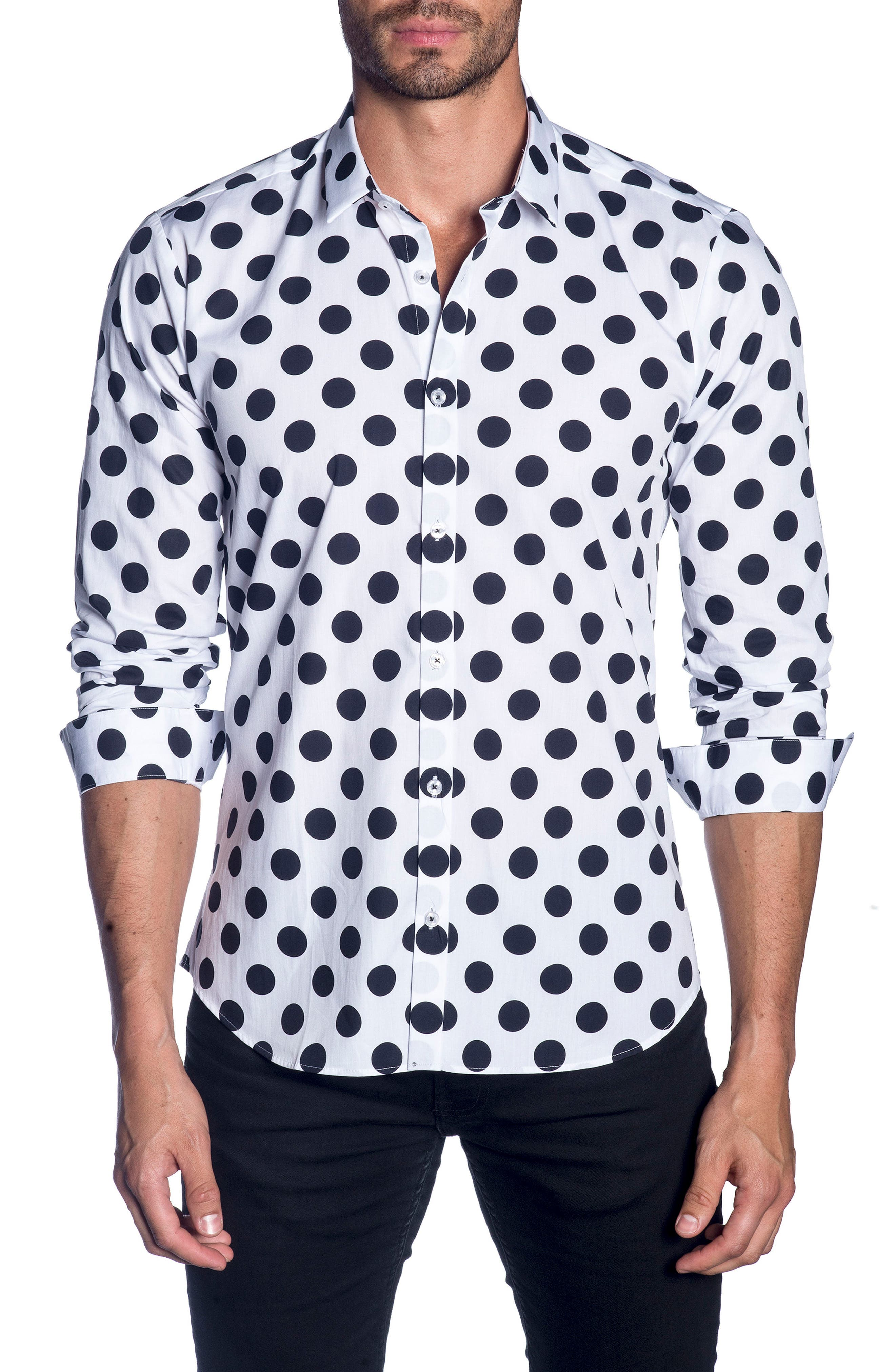 Trim Fit Sport Shirt,                         Main,                         color, WHITE BLACK POLKA DOT