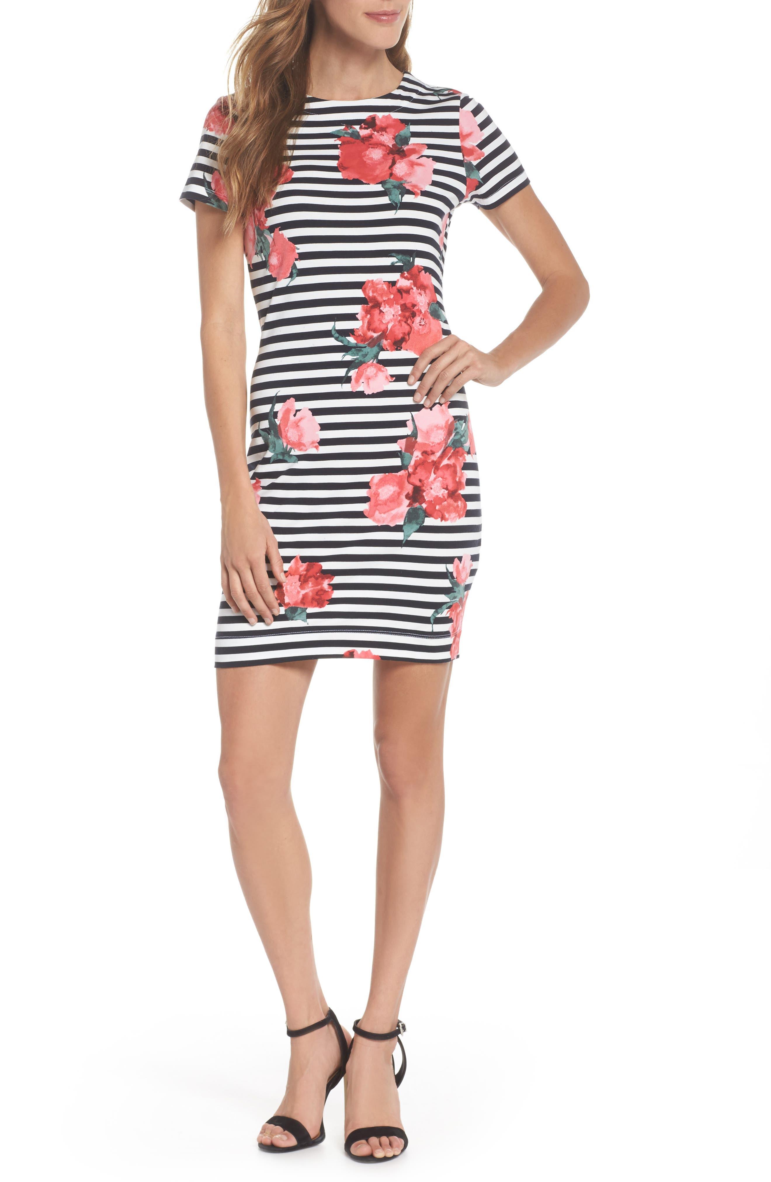 Jude Flower Stripe Knit Dress,                             Main thumbnail 1, color,                             488