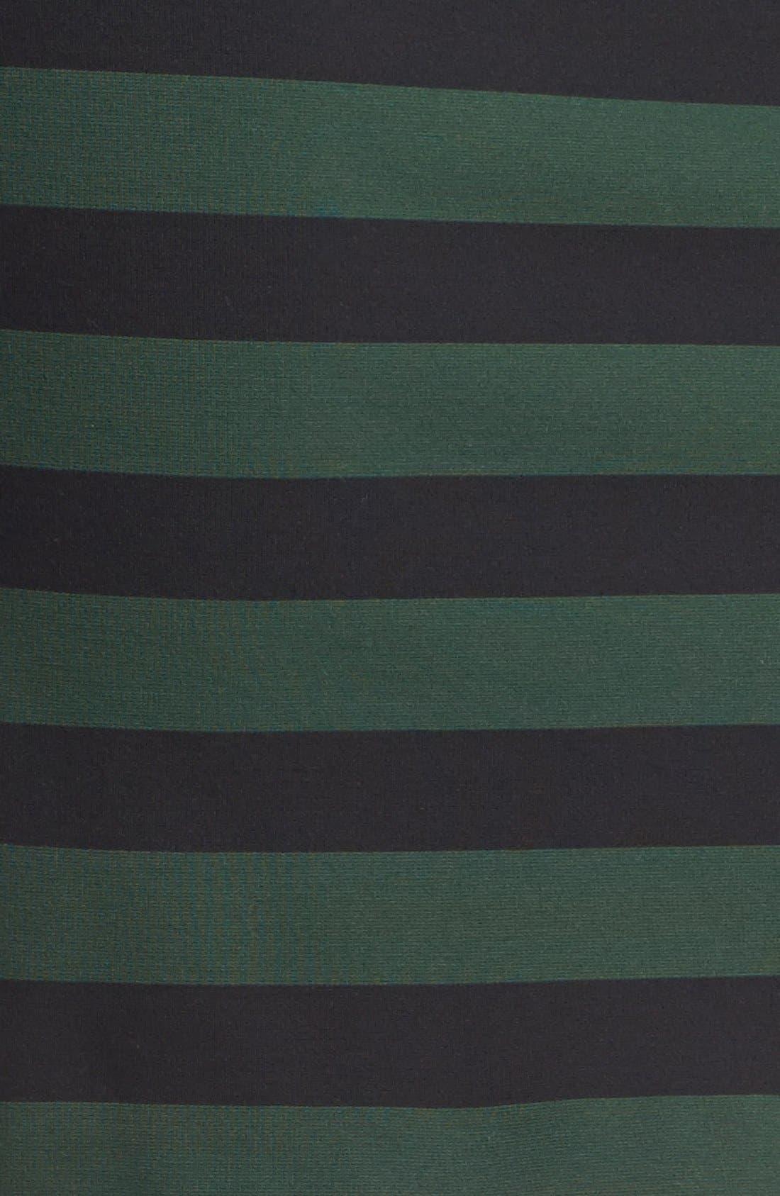 Faux Leather Trim Stripe Pencil Skirt,                             Alternate thumbnail 3, color,