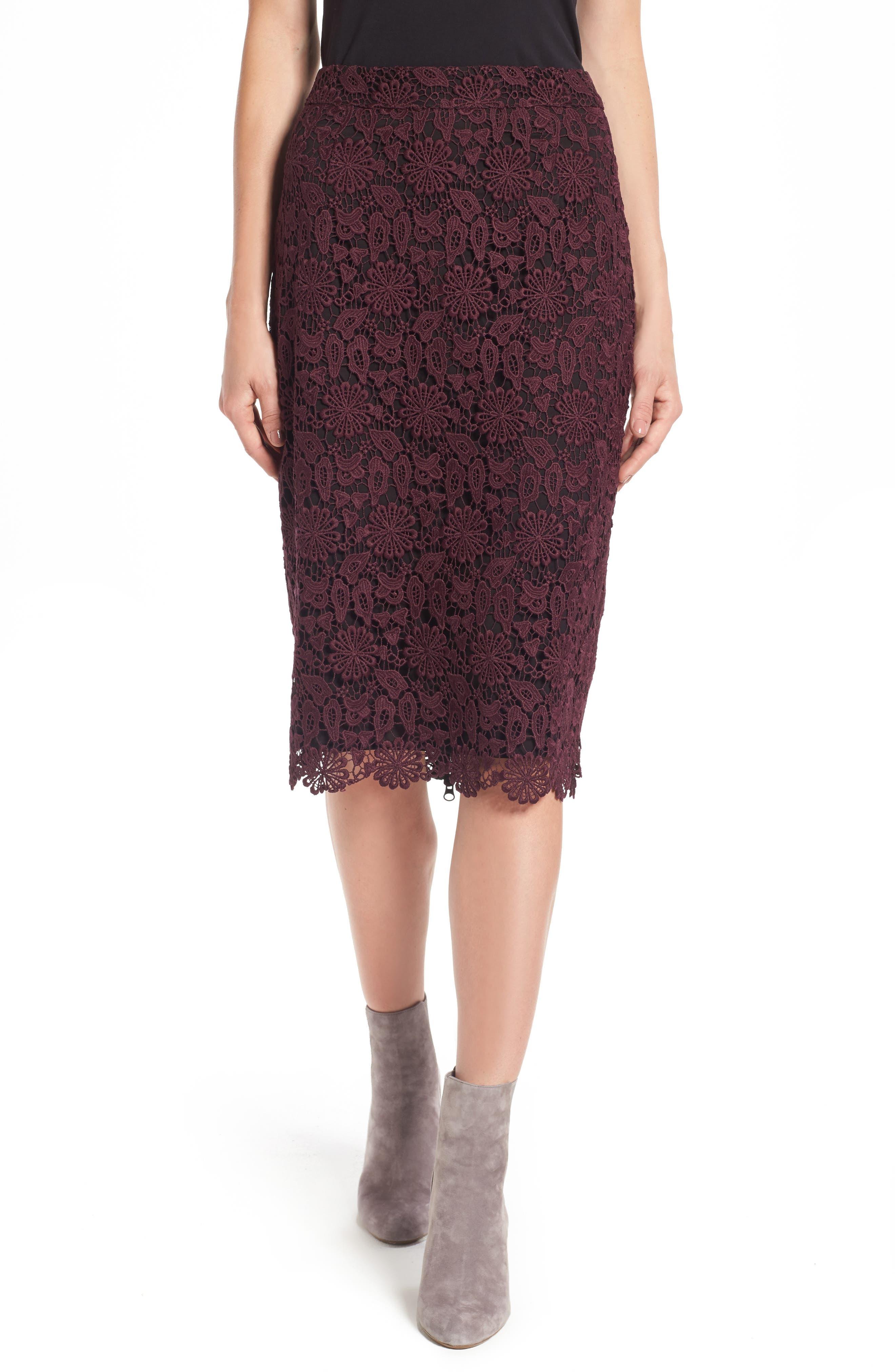 Lace Pencil Skirt, Main, color, 930