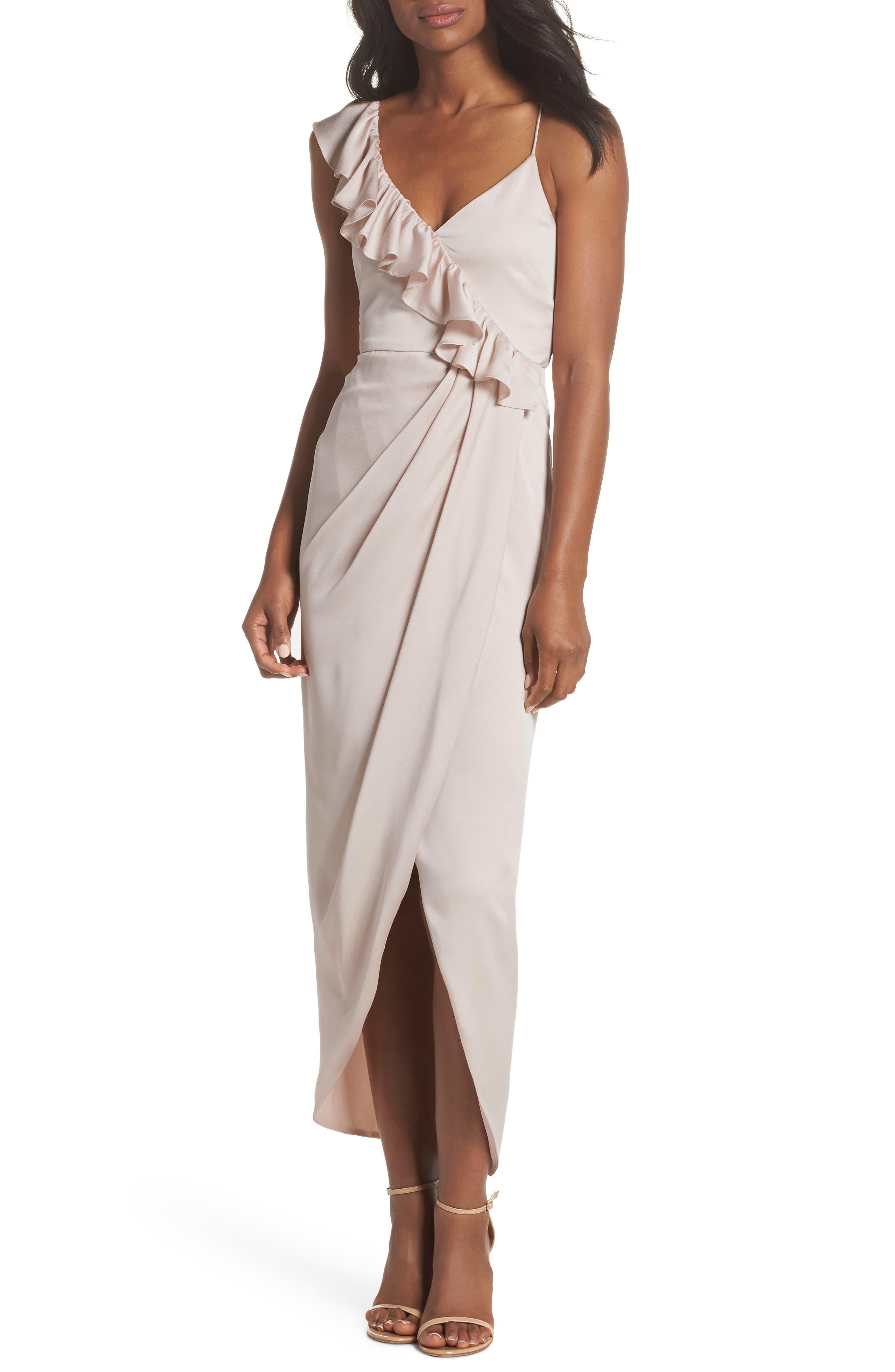 Luxe Asymmetrical Frill Maxi Dress,                             Main thumbnail 1, color,                             PORCELAIN