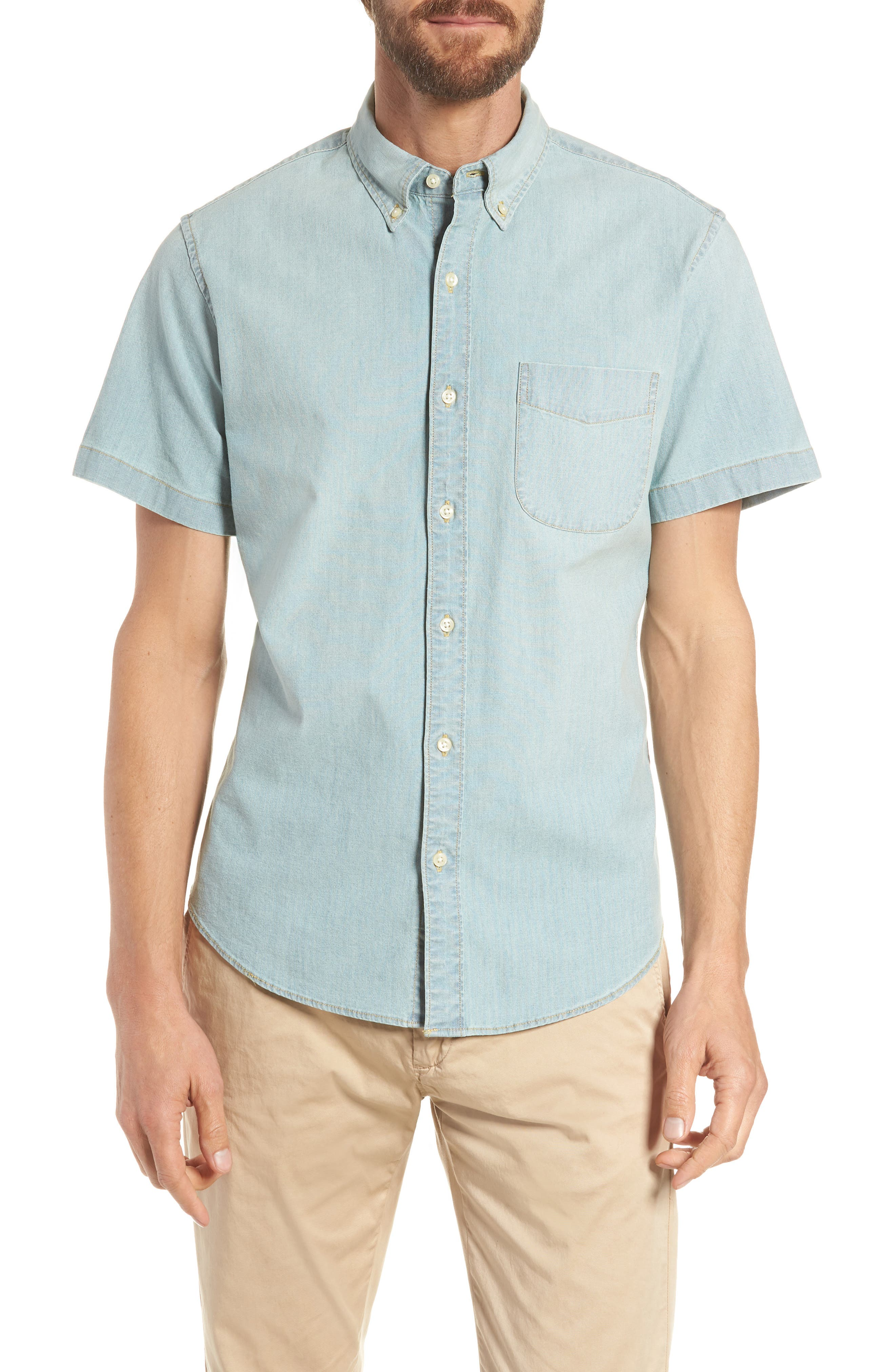 Slim Fit Stretch Chambray Shirt,                             Main thumbnail 1, color,