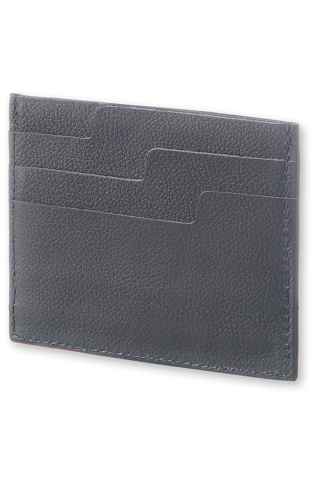 Moleskin Lineage Leather Card Case,                             Alternate thumbnail 3, color,                             AVIO BLUE