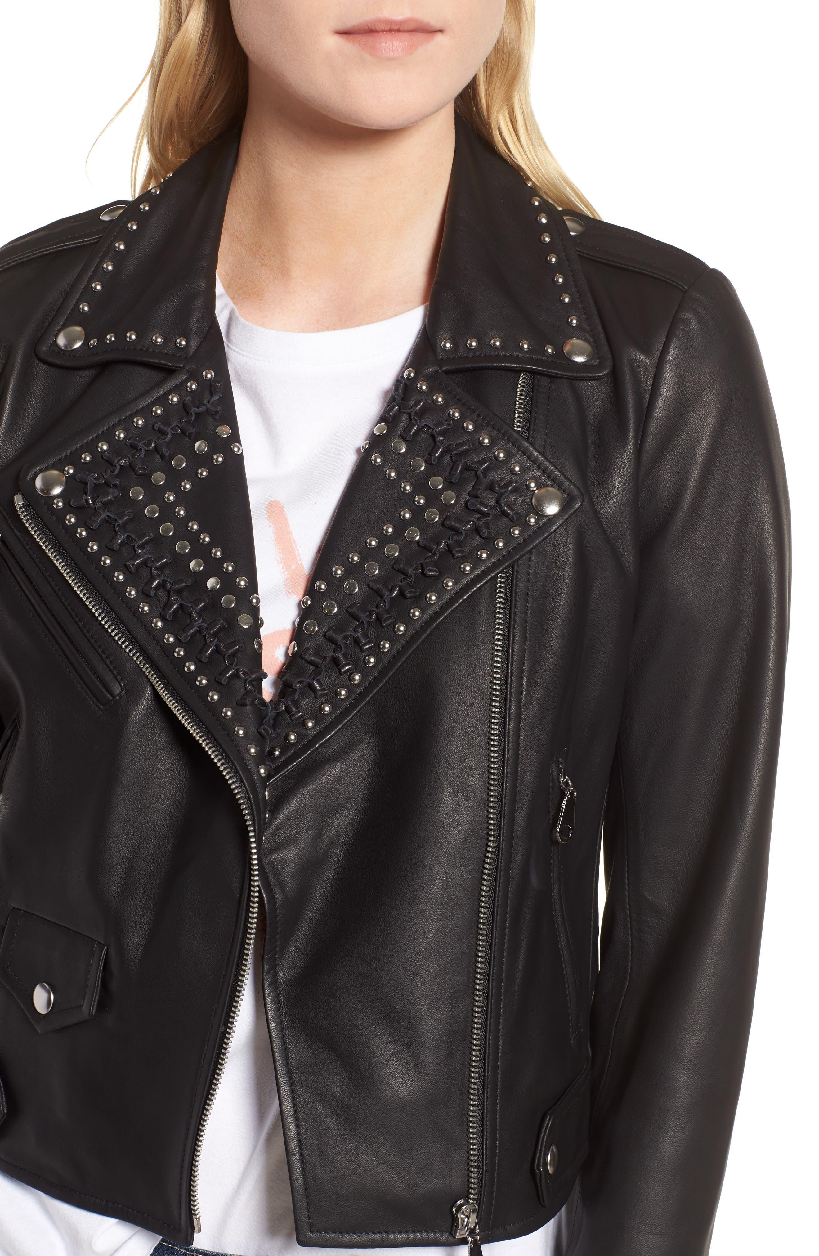 Wes Leather Moto Jacket,                             Alternate thumbnail 4, color,                             001