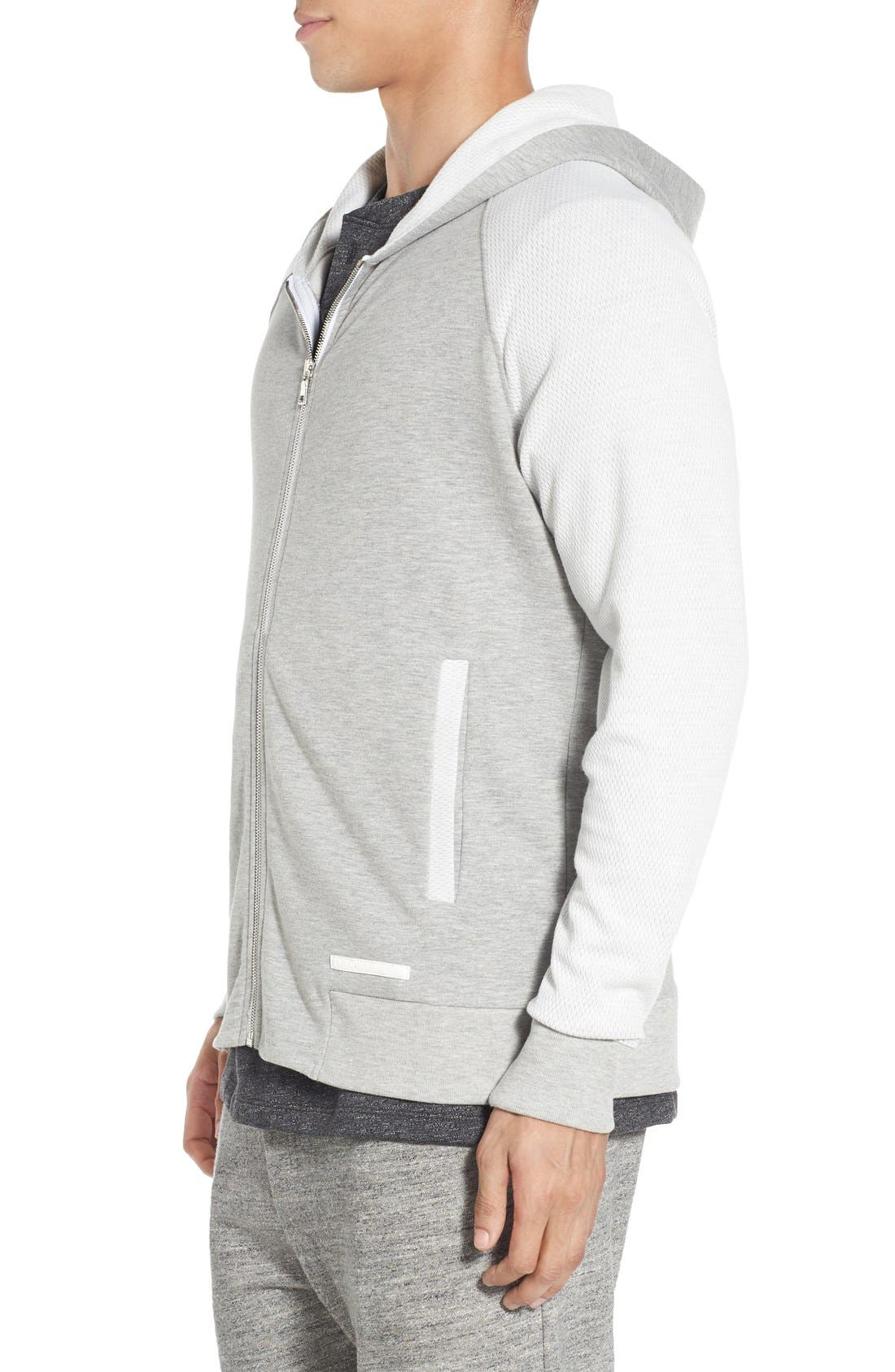 'Baseline' Zip Hoodie,                             Alternate thumbnail 3, color,                             GREY